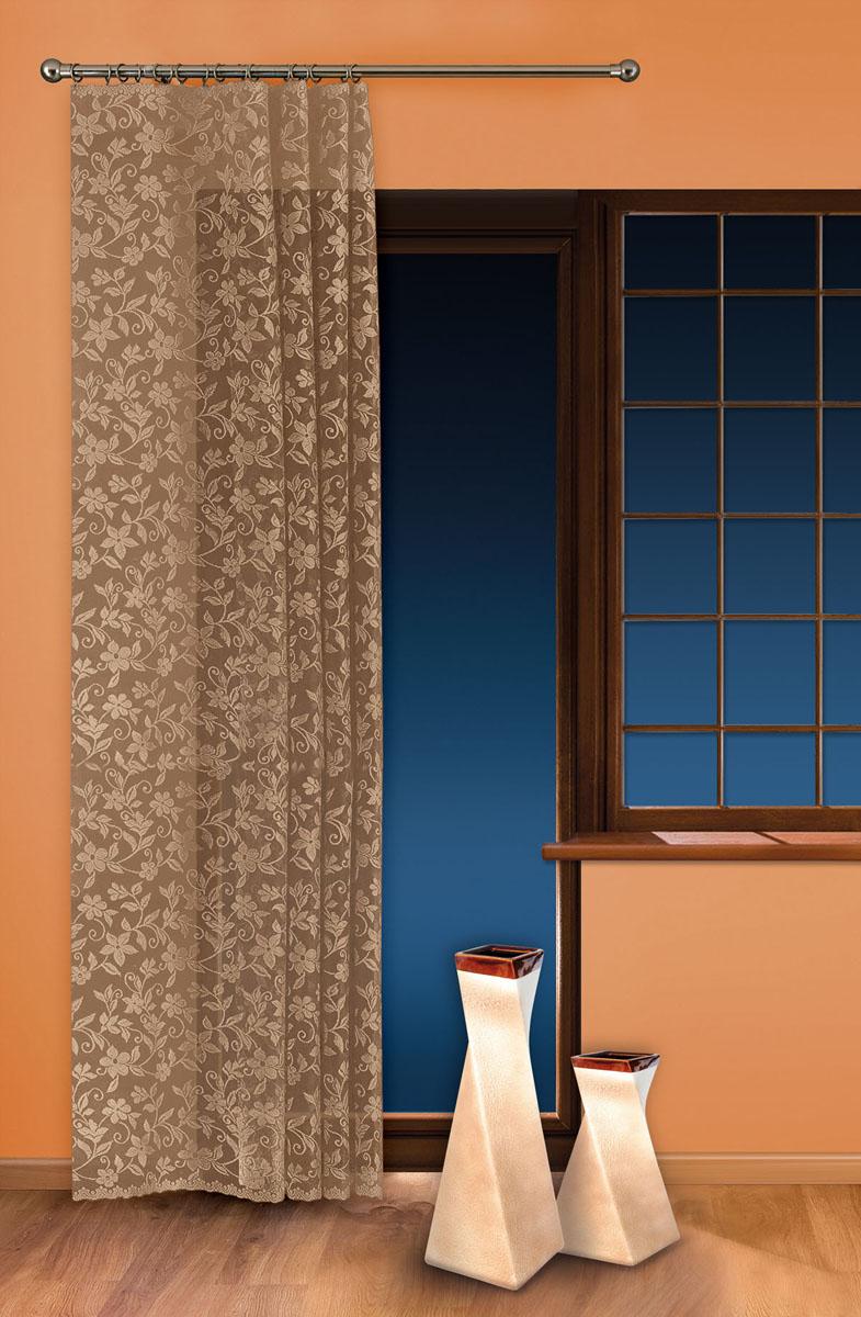 Гардина-тюль Wisan, на ленте, цвет: льняной, высота 250 см. 5924956251325Жаккардовая гардина-тюль Wisan, выполненная из легкого полиэстера, станет великолепным украшением окна в спальне или гостиной. Изделие дополнено красивыми узорами по всей поверхности полотна. Качественный материал, изысканная цветовая гамма и оригинальный дизайн привлекут к себе внимание и позволят гардине органично вписаться в интерьер помещения. Гардина оснащена шторной лентой для крепления на карниз. Отлично подходит по размеру под балконный блок на прилегающее окно.
