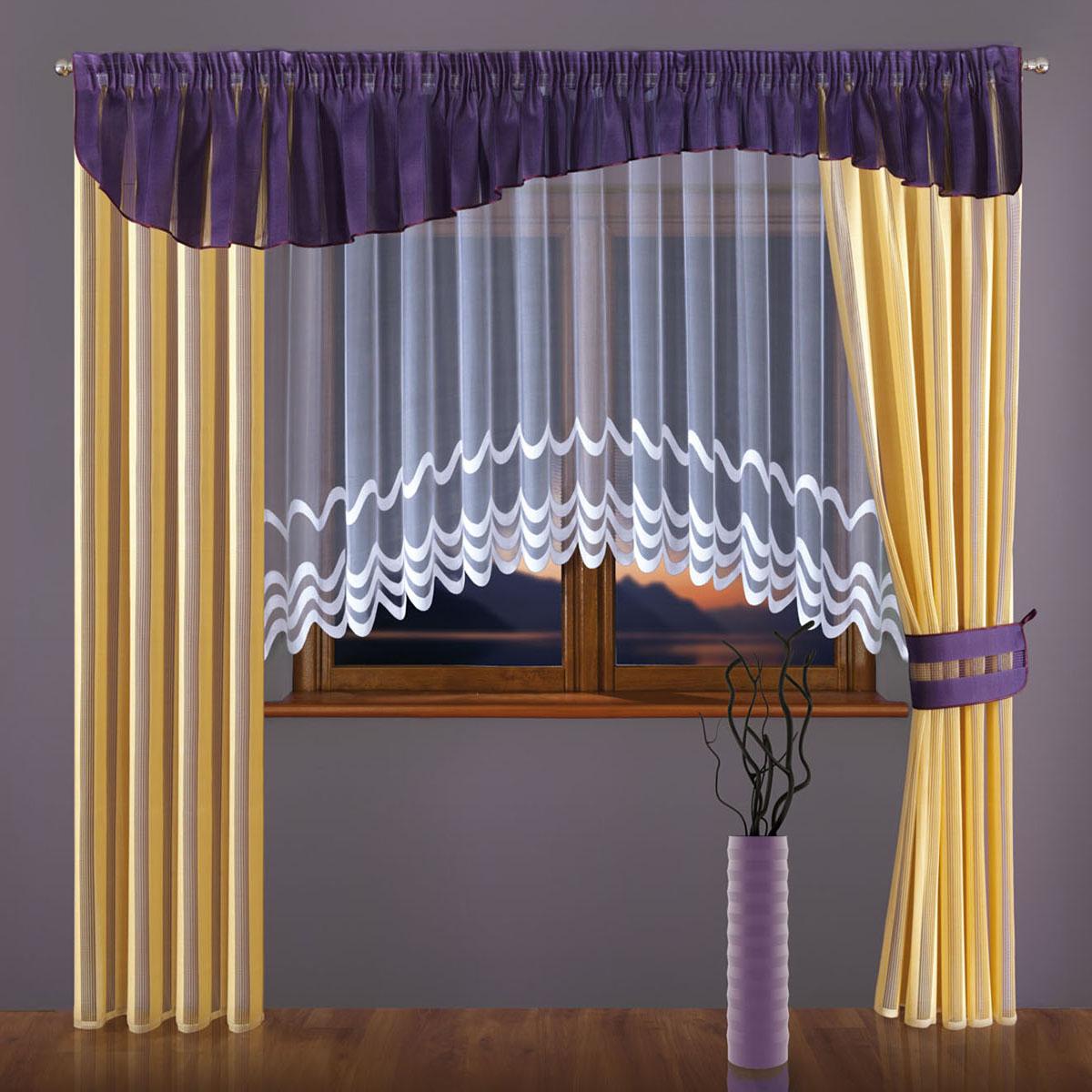 Комплект штор Wisan, цвет: фиолетовый, кремовый, высота 240 см. 093W46990/250 сиреньсетчатые портьеры, полупрозрачные, крепление - шторная лентаРазмеры: тюль ширина 400* выс.160, шторы (ширина 150* выс.240)*2, ламбрекен 400*50
