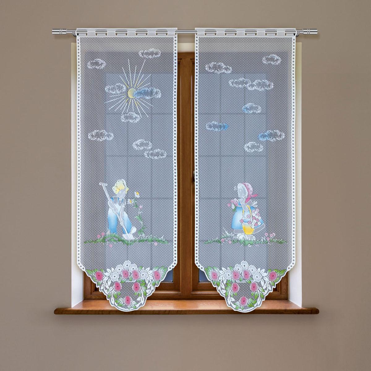 Гардина Haft, цвет: белый, высота 220 см. 4244Е/604244Е/60Гардина-витраж Haft изготовленная из полиэстера, станет изюминкой интерьера вашей комнаты. Гардина имеет в верхней части полотна прорези, через которые вешается на карниз. Гардину можно крепить на зажим для штор, который в комплект не входит.