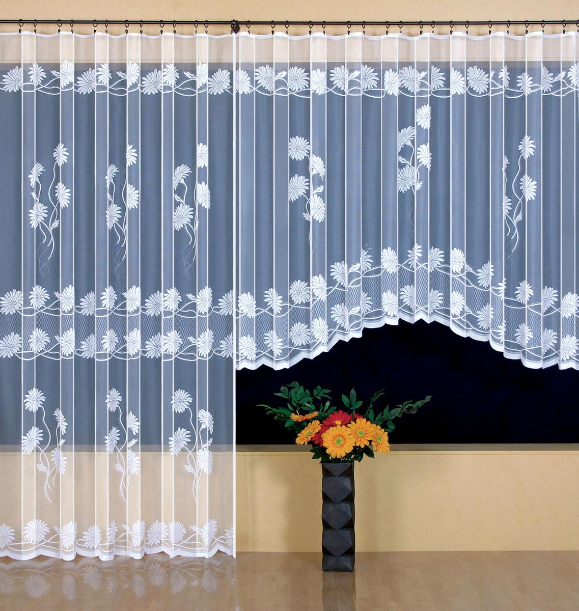 Гардина Wisan, на ленте, цвет: белый, высота 250 см. 9410DW90Жаккардовая гардина Wisan, выполненная из легкого полупрозрачного полиэстера, станет великолепным украшением окна в спальне или гостиной. Отлично подходит по размеру под балконный блок на прилегающее окно. Изделие дополнено красивым цветочным узором по всей поверхности полотна. Качественный материал, тонкое плетение и оригинальный дизайн привлекут к себе внимание и позволят гардине органично вписаться в интерьер помещения. Гардина оснащена шторной лентой под зажимы для крепления на карниз. Уважаемые клиенты!Обращаем ваше внимание, что в комплект входит одна гардина. Фото с двумя гардинами, данное в интерьере, служит для визуального восприятия товара.