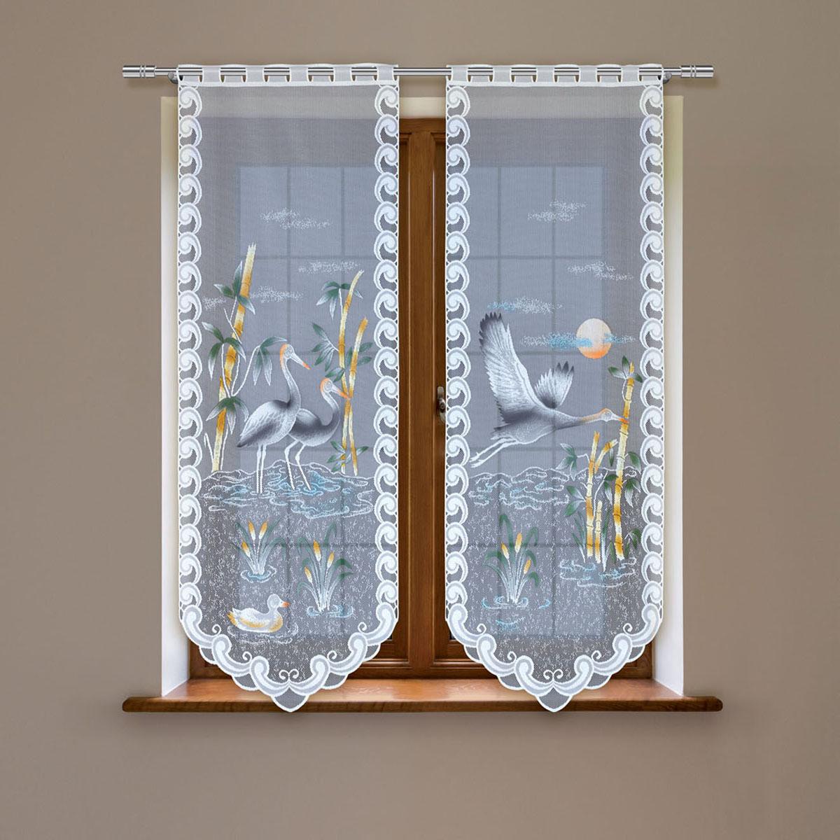 Гардина Haft, цвет: белый, высота 120 см. 4247D/60956251325Гардина имеет в верхней части полотна прорези, через которые гардина-витраж вывешивается на карниз или можно крепить на зажим для штор,котрый в комплект не входит.Комплект состоит из двух полотен (выс.120* шир.60) Размеры: (высота 120* ширина 60)*2