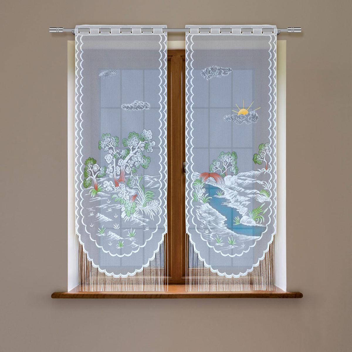 Гардина Haft, цвет: белый, высота 220 смБ132голубойГардина имеет в верхней части полотна прорези, через которые гардина-витраж вывешивается на карниз или можно крепить на зажим для штор,котрый в комплект не входит.Комплект состоит из двух полотен (выс.220* шир.60) Размеры: (высота 220* ширина 60)*2