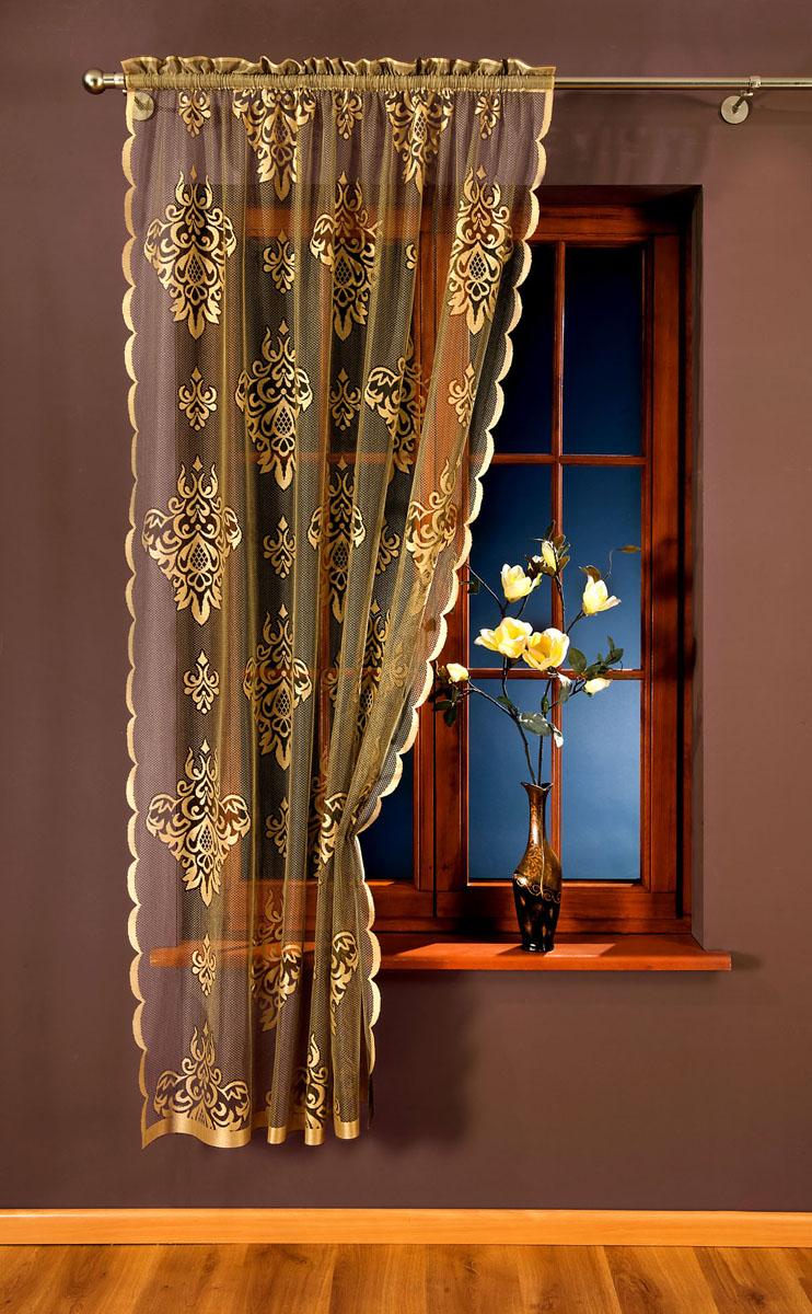 Гардина Wisan, на кулиске, цвет: светло-коричневый, высота 240 см. 809АSVC-300Гардина Wisan, выполненная из легкого полупрозрачного полиэстера светло-коричневого цвета, станет великолепным украшением окна в спальне или гостиной. Изделие дополнено красивыми узорами по всей поверхности полотна. Качественный материал, тонкое плетение и оригинальный дизайн привлекут к себе внимание и позволят гардине органично вписаться в интерьер помещения. Гардина оснащена кулиской для крепления на круглый карниз.