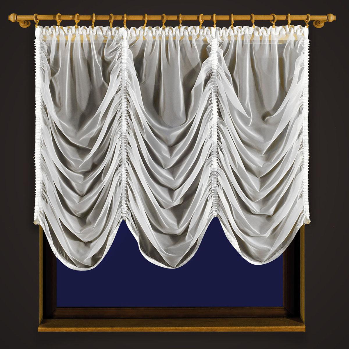 Гардина Zlata Korunka, цвет: белый, высота 250 см. 55608PANTERA SPX-2RSГардина Zlata Korunka, изготовленная из высококачественного полиэстера, станет великолепным украшением любого окна. Изделие из вуали выполнено по типу французской шторы. Вдоль полотна прошиты четыре туннеля, по которым гардина собирается гардина до нужных размеров. Оригинальная гардина внесет разнообразие и подарит заряд положительного настроения.Размер несобранного полотна: 250 х 250 см.