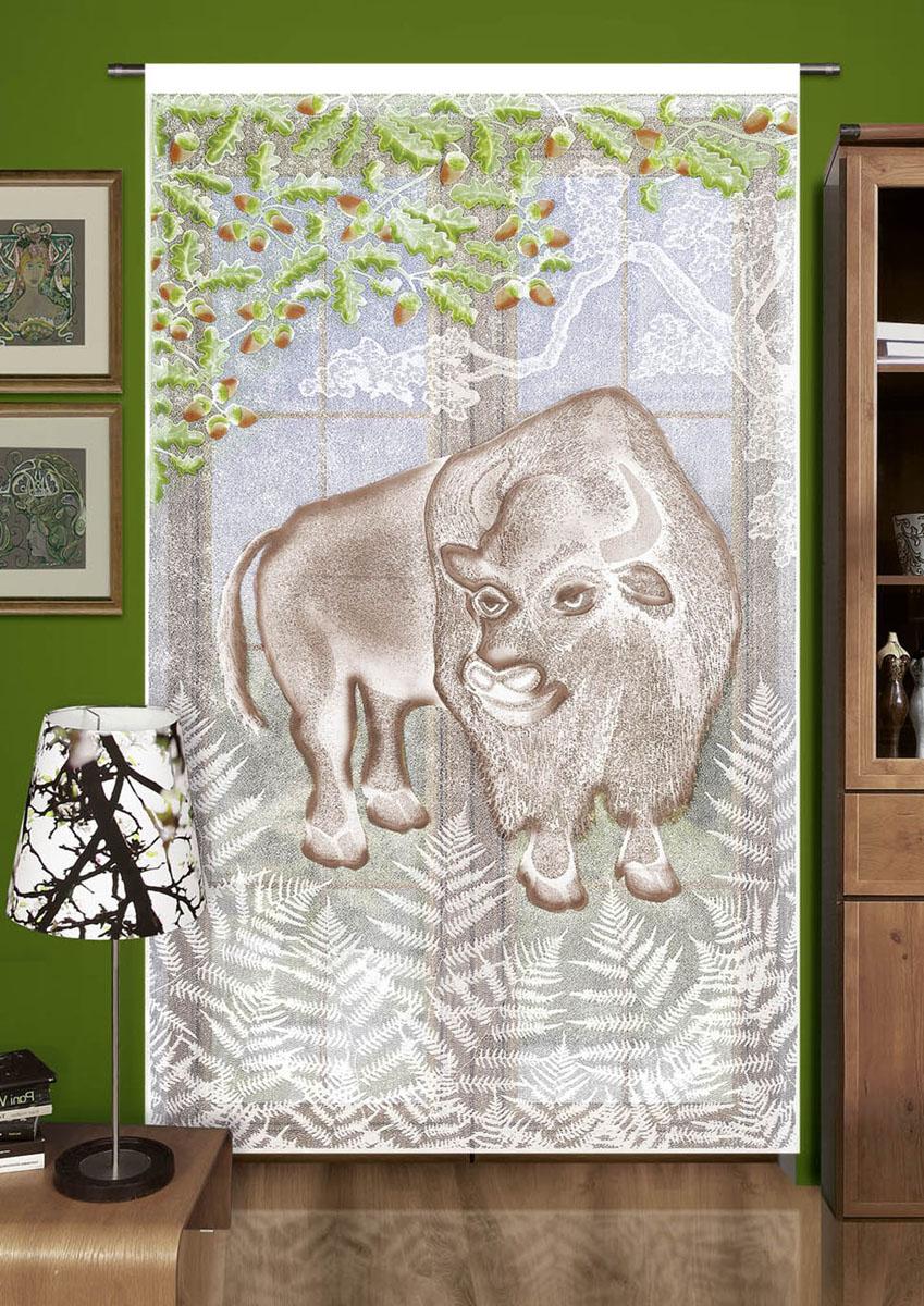 Гардина Wisan, цвет: белый, ширина 150 см, высота 240 см. 704А10278жаккардовая гардина-панно с цветным рисунком буйвола. Крепится на кулиску ширина 150 высота 240Размеры: шир.150*выс.240