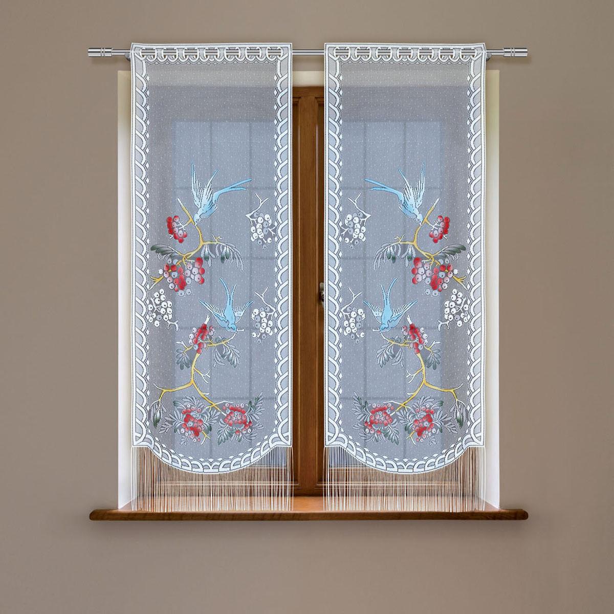 Гардина Haft, цвет: белый, высота 120 см. 5383D/60S03301004Гардина имеет в верхней части полотна прорези, через которые гардина-витраж вывешивается на карниз или можно крепить на зажим для штор,котрый в комплект не входит.Комплект состоит из двух полотен (выс.120* шир.60) Размеры: (высота 120* ширина 60)*2