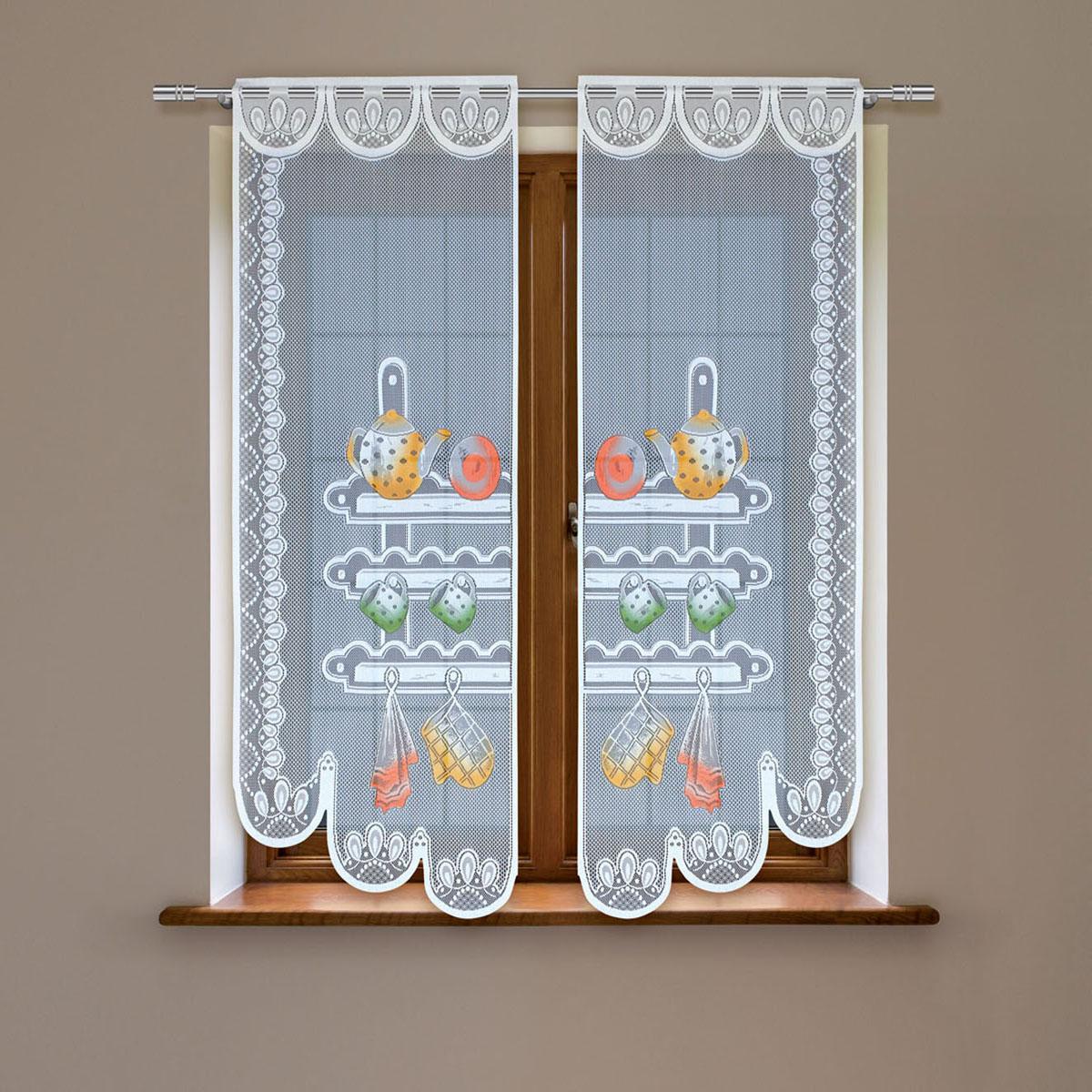 Гардина Haft, цвет: белый, высота 160 см. 8603С/60S03301004Гардина имеет в верхней части полотна прорези, через которые гардина-витраж вывешивается на карниз или можно крепить на зажим для штор,котрый в комплект не входит.Комплект состоит из двух полотен (выс.160* шир.60) Размеры: (высота 160* ширина 60)*2
