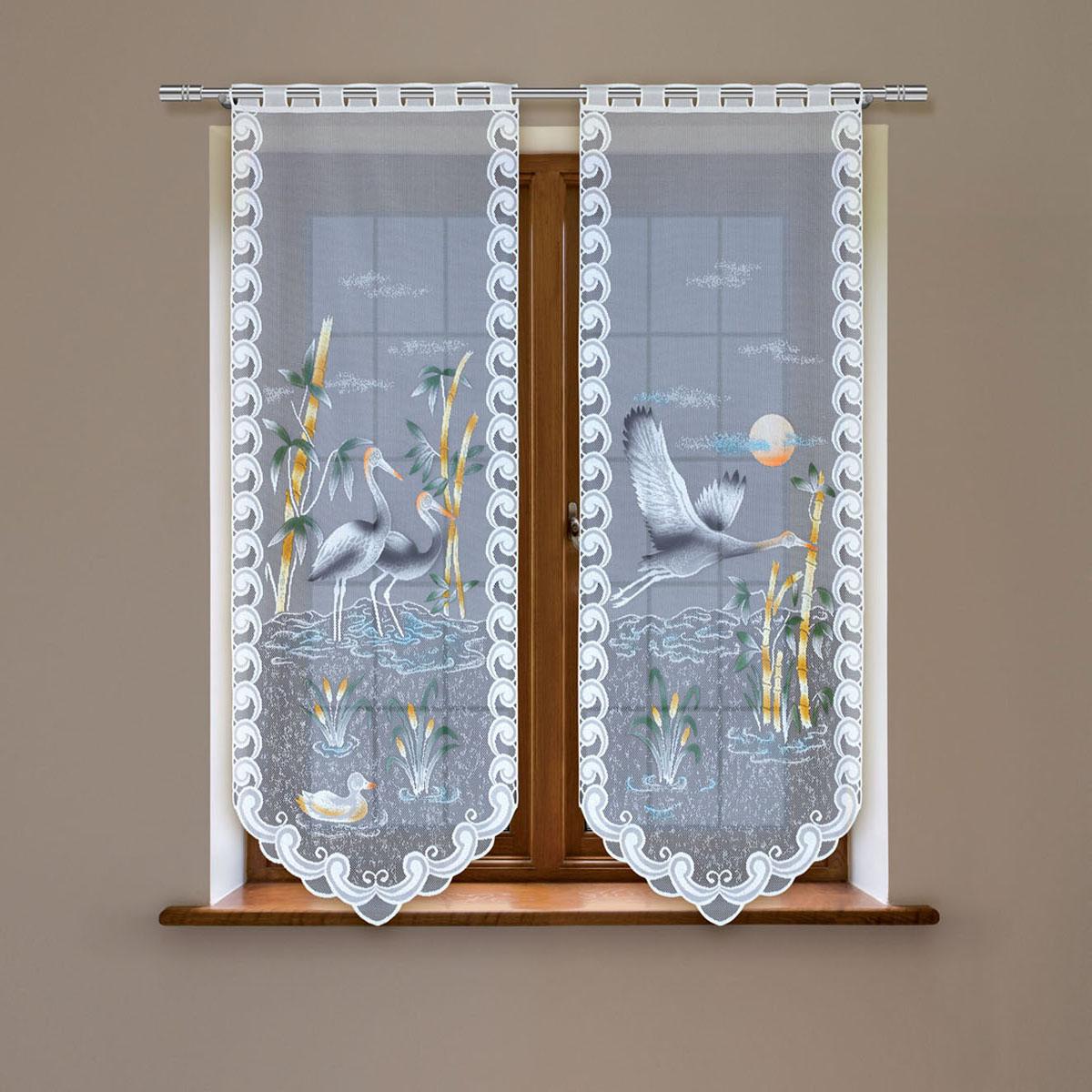 Гардина Haft, цвет: белый, высота 220 см. 4247Е/6098299571Гардина имеет в верхней части полотна прорези, через которые гардина-витраж вывешивается на карниз или можно крепить на зажим для штор,котрый в комплект не входит.Комплект состоит из двух полотен (выс.220* шир.60) Размеры: (высота 220* ширина 60)*2