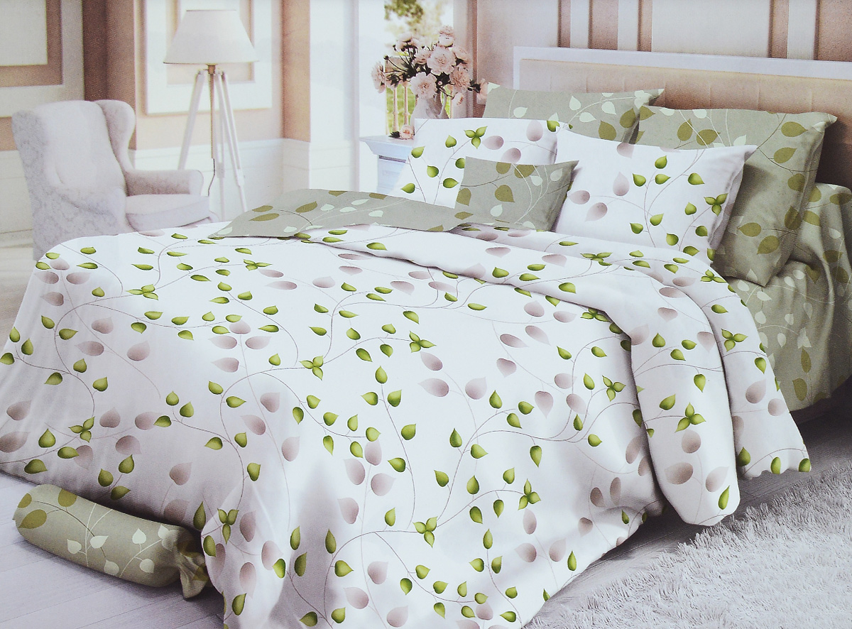Комплект белья Verossa Botanic, 1,5-спальный, наволочки 70х70, цвет: белый, зеленый. 178476K100Комплект белья Verossa Botanic состоит из пододеяльника, простыни и двух наволочек. Изделия выполнены из сатина. Это настоящая роскошь для любителей понежиться в постели. Вас манит его блеск, завораживает гладкость, ласкает мягкость, и каждый миг дарит истинное наслаждение. Особенности сатина: - Мягкость и нежность. Тонкая пряжа и атласное переплетение нитей обеспечивают сатину мягкость и деликатность. - Красота и элегантность. Легкий блеск сатина делает дизайны живыми и переливающимися. - Натуральность. 100% хлопок, не электризуется и отлично пропускает воздух, ткань дышит. - Простота в уходе. Легко стирается и практически не требует глажения. - Прочность и долговечность. Не линяет, не пилингуется, не изменяет внешний вид после многочисленных стирок.