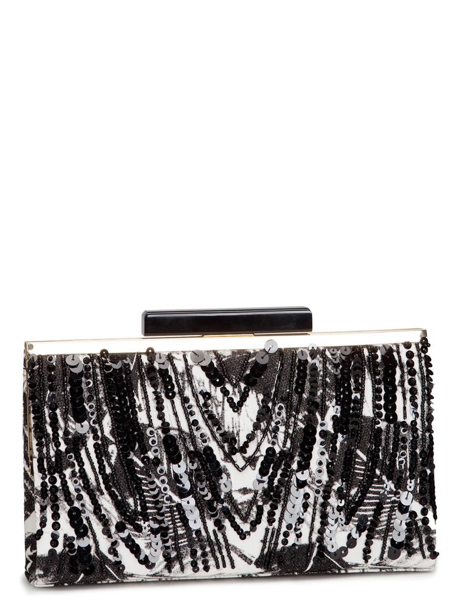 Клатч Eleganzza, цвет: черный, белый. ZZ-16665BM8434-58AEКлатч Eleganzza изготовлен из высококачественного текстиля и закрывается на рамочный замок. Сумка имеет одно основное отделение, в котором есть один открытый накладной карман.Изделие дополнено изящной длинной цепочкой для переноски, а фронтальная сторона декорирована блестящими пайетками и бисером.Клатч Eleganzza покорит сердце всех любительниц красивых и ярких аксессуаров для выхода в свет! Он прекрасно дополнит ваш образ и подчеркнет неповторимый стиль!