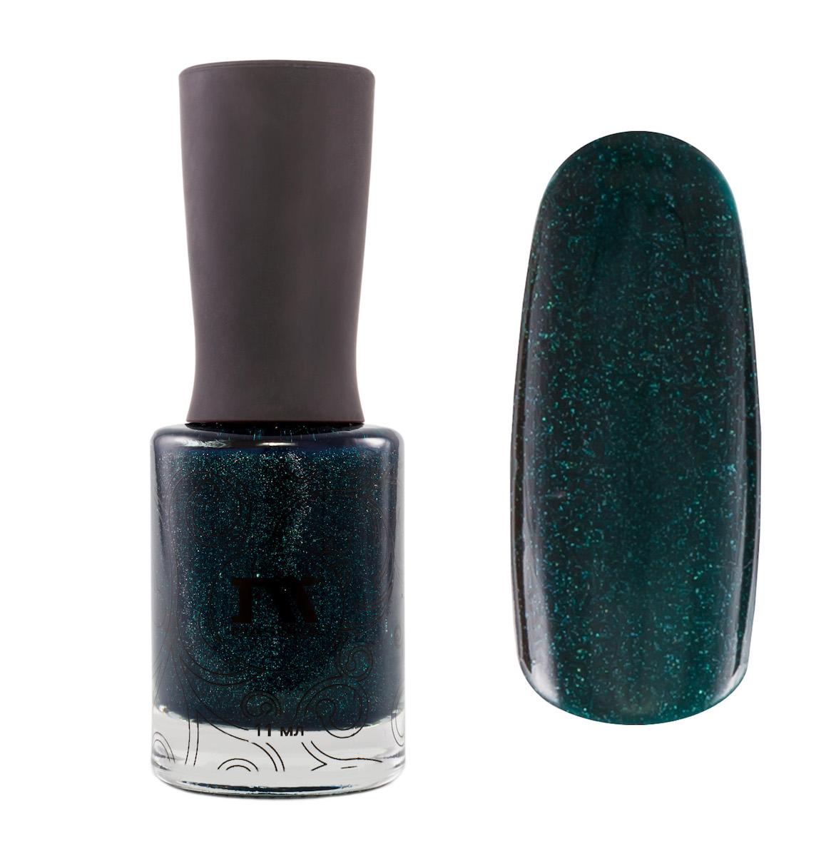 Masura Лак для ногтей Поменьше бы Понедельников, 11 мл28032022темно-зеленый с изумрудным подтоном, с явным голографическим и зеленовато-голубым мерцанием