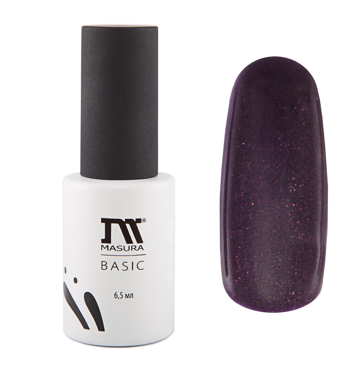 Masura Гель-лаки BASIC Марко Поло, 6,5 мл6Темно-фиолетовый с мелким голографическим и сиренево-бронзовым мерцанием, плотный