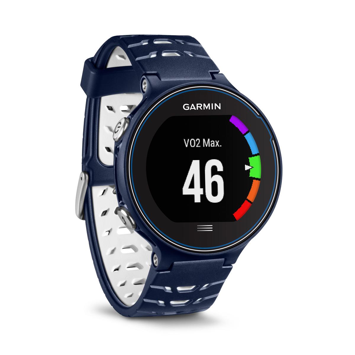 Спортивные часы Garmin Forerunner 630, цвет: темно-синий. 010-03717-21010-03717-55Смарт-часыGPSс расширенными беговыми даннымиМониторинг: Физической активности;Калорий;СнаДатчики: GPS- трекер;Счетчик калорийОсобенности: Влагозащищенный;Оповещения со смартфона;Часы;Водонепроницаемый;Умный тренер (Smart Coach )Совместимое ОС: GARMINМатериал корпуса: ПластикМатериал ремешка/браслета: ПластикДлина ремешка: 16 см Время работы: 4 неделиИнтерфейс: BluetoothМетод зарядки: microUSB 2.0Вид аккумулятора: Li-ionЕмкость аккумулятора: 300 mA
