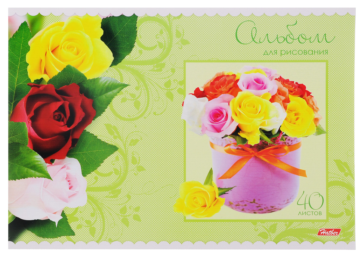 Hatber Альбом для рисования Розы цвет салатовый 40 листов72523WDАльбом для рисования Hatber Розы непременно порадует маленького художника и вдохновит его на творчество. Альбом изготовлен из белоснежной бумаги с яркой обложкой из плотного картона, оформленной красочным изображением.Высокое качество бумаги позволяет рисовать в альбоме карандашами, фломастерами, акварельными и гуашевыми красками.Внутренний блок состоит из 40 листов, скрепленных двумя металлическими скрепками.