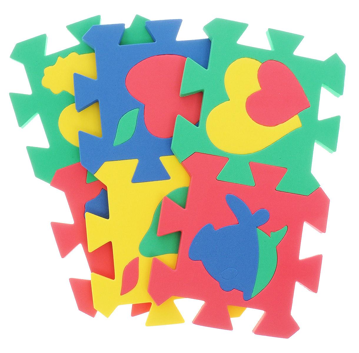 """Пазл для малышей Бомик """"Коврик. Мозаика"""" - увлекательная игра и практическое занятие для развития ребенка. Пазл выполнен из мягкого полимера, поэтому детали легко гнутся и не ломаются, их всегда можно состыковать. Пазл представляет собой 6 ковриков, каждый размером 14 см на 14 см с силуэтами-вкладышами в виде различных фигур. Пазл развивает у ребенка память, воображение, моторику, пространственное и логическое мышление."""