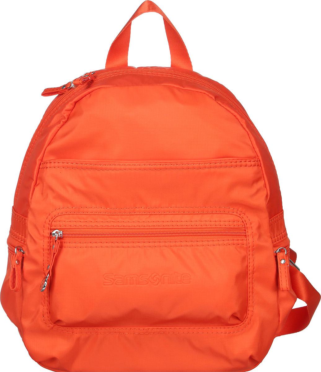 Рюкзак женский Samsonite, цвет: оранжевый. 5H3*96024S76245Стильный женский рюкзак Samsonite выполнен из полиамида. Изделие имеет одно основное отделение, закрывающееся на застежку-молнию. Внутри находятся прорезной карман на застежке-молнии, текстильный ремешок с карабином для ключей и два накладных открытых кармана. Снаружи, на передней стенке расположены два нашивных кармана на застежках-молниях. По бокам предусмотрены дополнительные кармашки на застежках-молниях. Модель оснащена регулируемыми лямками и удобной ручкой для переноски в руках. Стильный рюкзак позволит вам завершить образ и подчеркнет ваше отменное чувство стиля.