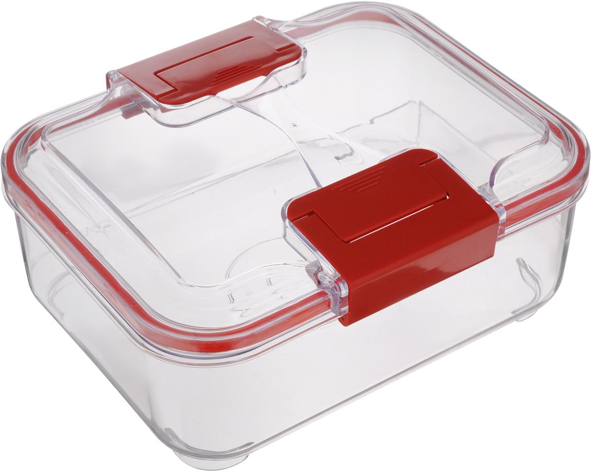 Контейнер Status, цвет: прозрачный, красный, 1,5 лRC15 RedПищевой контейнер Status изготовлен из высококачественного пищевого пластика. Контейнер безопасен для здоровья, не содержит BPA. Изделие имеет прямоугольную форму и оснащено плотно закрывающейся крышкой. Прозрачные стенки позволяют видеть содержимое. Контейнер закрывается при помощи двух защелок.Можно мыть в посудомоечной машине.Контейнер подходит для использования вморозильной камере и СВЧ.