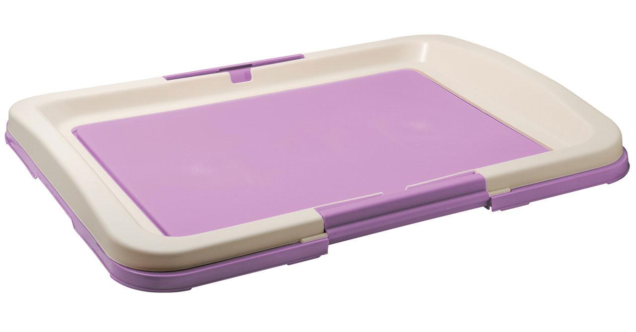 Туалет для собак V.I.Pet Японский стиль, цвет: фиолетовый, молочный, 63 х 49 х 6 см0120710Туалет для собак V.I.Pet Японский стиль, изготовленный из нетоксичного пластика, предназначен для собак и щенков. Гигиеническая пеленка помещается под решетку, которая удерживается боковыми фиксаторами.Туалет легко моется водой.
