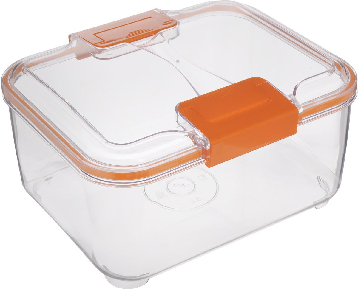 Контейнер Status, цвет: прозрачный, оранжевый, 3 лFD 992Пищевой контейнер Status изготовлен из высококачественного пищевого пластика. Контейнер безопасен для здоровья, не содержит BPA. Изделие имеет прямоугольную форму и оснащено плотно закрывающейся крышкой. Прозрачные стенки позволяют видеть содержимое. Контейнер закрывается при помощи двух защелок.Можно мыть в посудомоечной машине.Контейнер подходит для использования вморозильной камере и СВЧ.