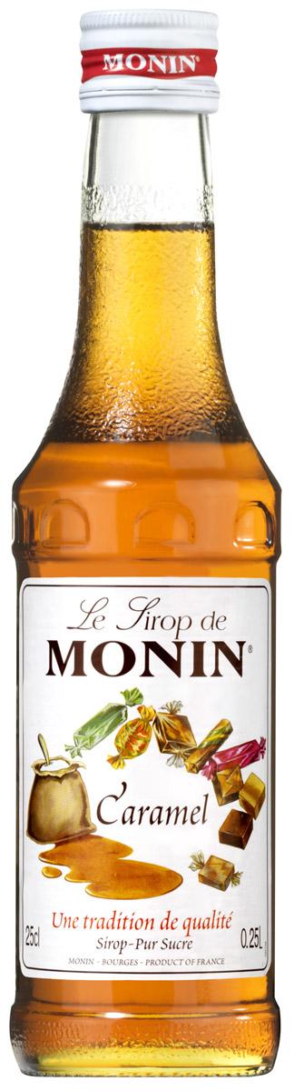 Monin Карамель сироп, 0,25 лSMONN0-000096Карамель просто означает карамелизированный сахар, традиционно получаемый с помощью плавления сахара в кастрюле с водой. Богатый вкус и цвет карамели вытекают из процесса нагревания и плавления сахара. Карамель ценится в качестве основного аромата, а также используется в гармонии с другими ароматами. С сиропом Monin Карамель возможны многочисленные приложения. Отлично сочетается с кофе, молочными коктейлями и десертными напитками.Сиропы Monin выпускает одноименная французская марка, которая известна как лидирующий производитель алкогольных и безалкогольных сиропов в мире. В 1912 году во французском городке Бурже девятнадцатилетний предприниматель Джордж Монин основал собственную компанию, которая специализировалась на производстве вин, ликеров и сиропов. Место для завода было выбрано не случайно: город Бурже находился в непосредственной близости от крупных сельскохозяйственных районов - главных поставщиков свежих ягод и фруктов. Эксперты всего мира сходятся во мнении, что сиропы Monin - это законодатели мод в миксологии. Ассортимент французской марки на сегодняшний день является самым широким и насчитывает полторы сотни уникальных вкусовых решений. В каталоге компании можно найти как классические вкусы для кофейных напитков (шоколадный, ванильный, ореховый и другие сиропы), так и весьма экзотические варианты (сиропы со вкусом кокоса, зеленой мяты, тирамису, блю курасао, аниса, грейпфрута, пина колады и т. д.) Отметим, что все сиропы обладают мягкими, деликатными вкусоароматическими характеристиками, что говорит о натуральном составе продуктов.