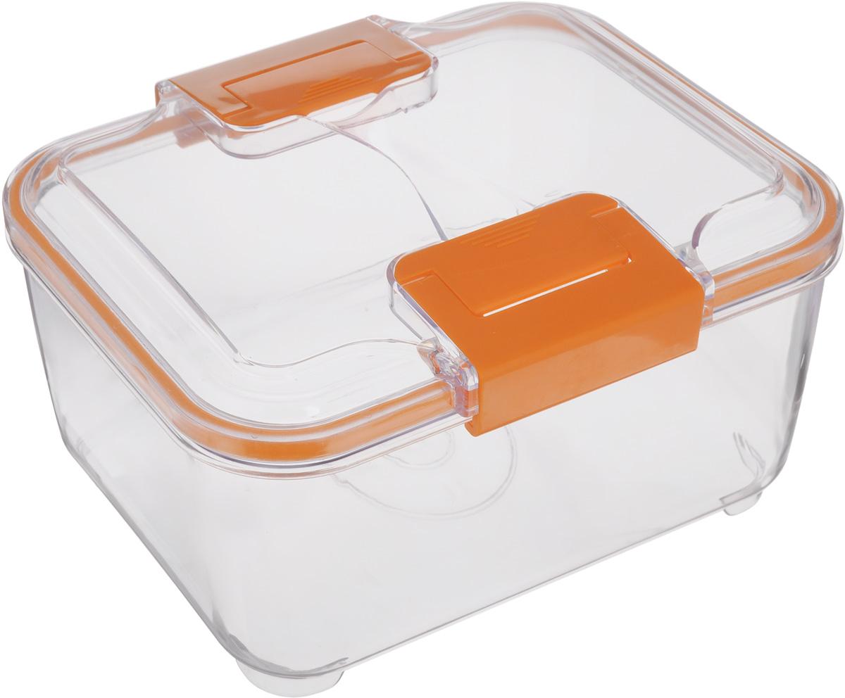 Контейнер Status, цвет: прозрачный, оранжевый, 2 лFA-5125 WhiteПищевой контейнер Status изготовлен из высококачественного пищевого пластика. Контейнер безопасен для здоровья, не содержит BPA. Изделие имеет прямоугольную форму и оснащено плотно закрывающейся крышкой. Прозрачные стенки позволяют видеть содержимое. Контейнер закрывается при помощи двух защелок.Можно мыть в посудомоечной машине.Контейнер подходит для использования вморозильной камере и СВЧ.