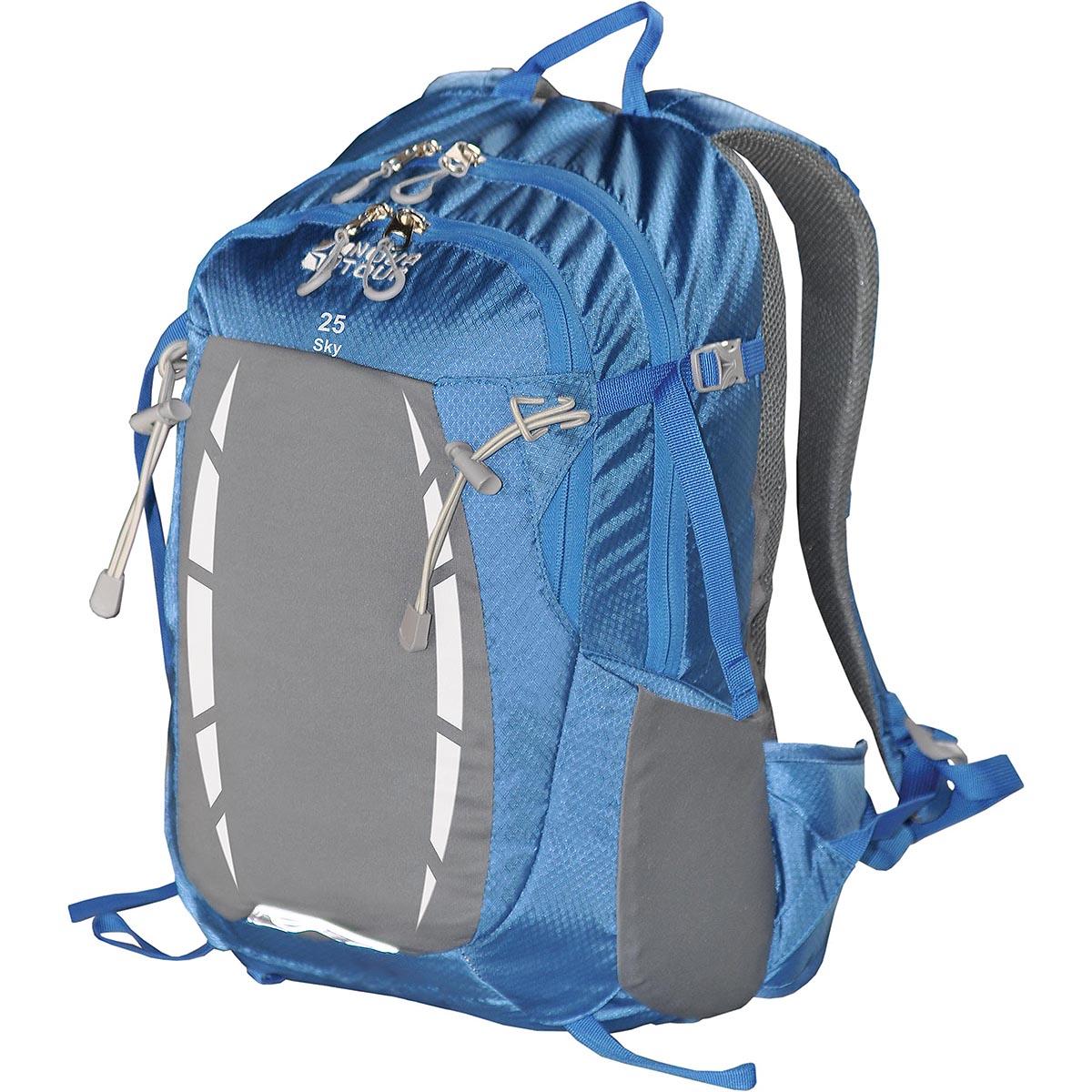Рюкзак спортивный Nova Tour Скай 25, цвет: синий, 25 лMW-1462-01-SR серебристыйРюкзак спортивный Nova Tour Скай 25 - отделение для гидратора, карабин для ключей, карман с органайзером, эластичный фронтальный карман с переменным объемом.
