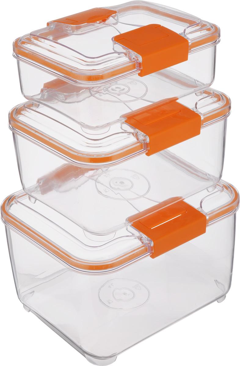 Набор контейнеров Status RC Set higer, цвет: оранжевый, прозрачный, 3 штVT-1520(SR)Набор контейнеров Status RC Set higer изготовлен из высококачественного пищевого пластика. Контейнеры безопасны для здоровья, не содержат BPA. Изделия имеют прямоугольную форму и оснащены плотно закрывающимися крышками. Прозрачные стенки позволяют видеть содержимое. Контейнеры закрываются при помощи двух защелок.Можно мыть в посудомоечной машине.Контейнеры подходят для использования вморозильной камере и СВЧ.В наборе три контейнера объемом 1 л, 2 л и 4 л.Размер контейнера 4 л: 24 х 20 х 15,5 см.Размер контейнера 2 л: 21 х 17 х 11,5 см.Размер контейнера 1 л: 18,5 х 15 х 7,5 см.