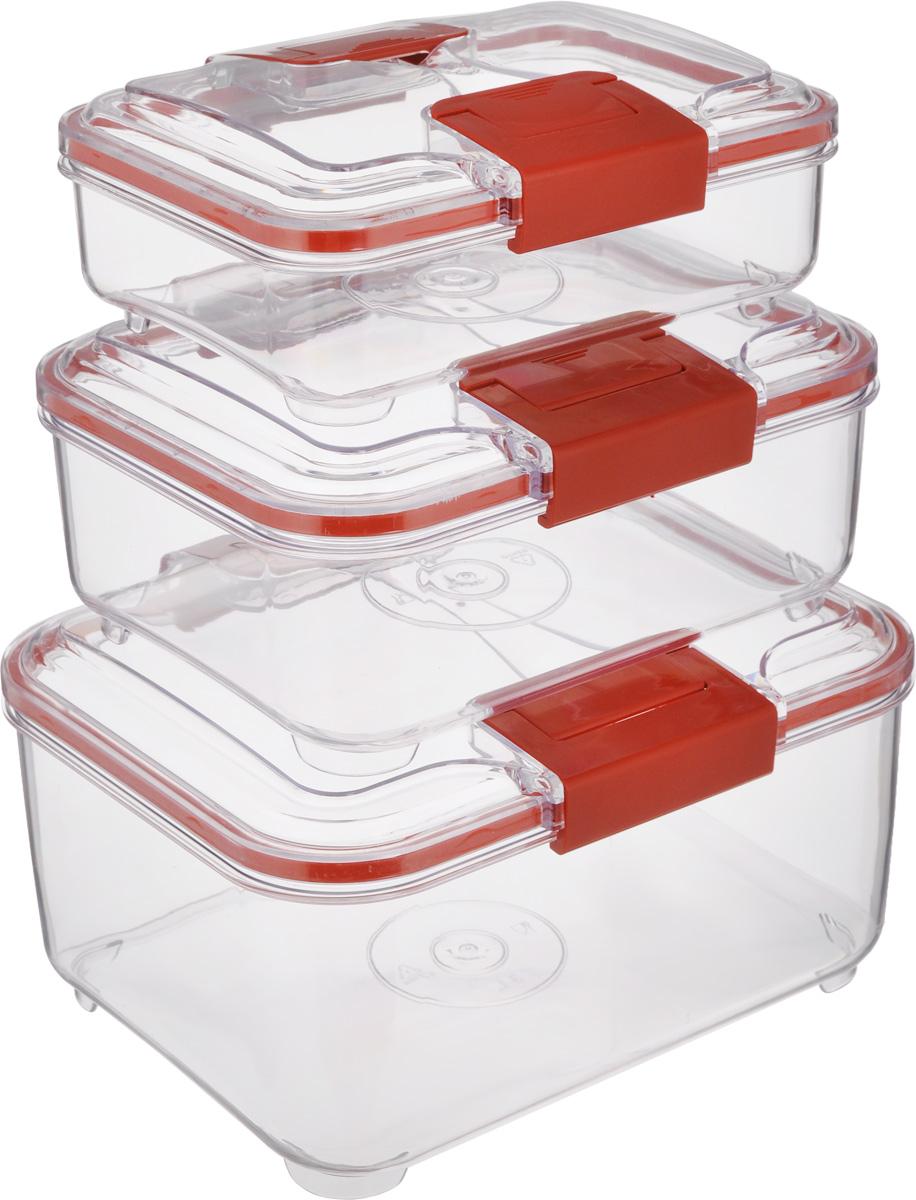 Набор контейнеров Status RC Set lower, цвет: красный, прозрачный, 3 штRC Set lower RedНабор контейнеров Status RC Set lower изготовлен из высококачественного пищевого пластика. Контейнеры безопасны для здоровья, не содержат BPA. Изделия имеют прямоугольную форму и оснащены плотно закрывающимися крышками. Прозрачные стенки позволяют видеть содержимое. Контейнеры закрываются при помощи двух защелок.Можно мыть в посудомоечной машине.Контейнеры подходят для использования вморозильной камере и СВЧ.В наборе три контейнера объемом 0,75 л, 1,5 л и 3 л.Размер контейнера 3 л: 24 х 20 х 12,см.Размер контейнера 1,5 л: 21 х 17 х 10 см.Размер контейнера 0,75 л: 18,5 х 15 х 7,5 см.