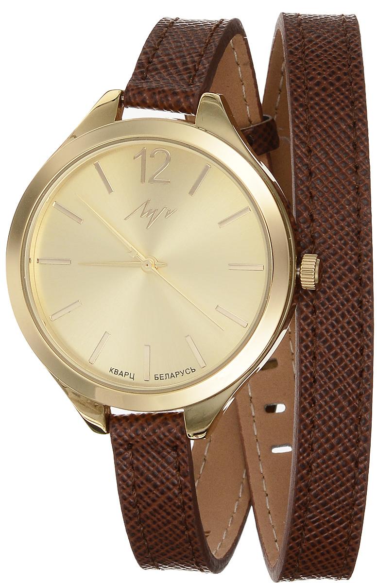 Часы наручные женские Луч Современная, цвет: золотой, коричневый. 729107276BM8434-58AEЭлегантные женские часы Луч Современная изготовлены из нержавеющей стали и минерального стекла. Циферблат часов оформлен символикой бренда.Корпус часов имеет степень влагозащиты равную 3 Bar, оснащен кварцевым механизмом Miyota, а также дополнен устойчивым к царапинам минеральным стеклом. Удлиненный ремешок часов выполнен из натуральной кожи с декоративным тиснением. Практичная пряжка, дополняющая ремешок, позволит с легкостью снимать и надевать часы.Часы поставляются в фирменной упаковке.Часы Луч Современная подчеркнут изящность женской руки и отменное чувство стиля у их обладательницы.