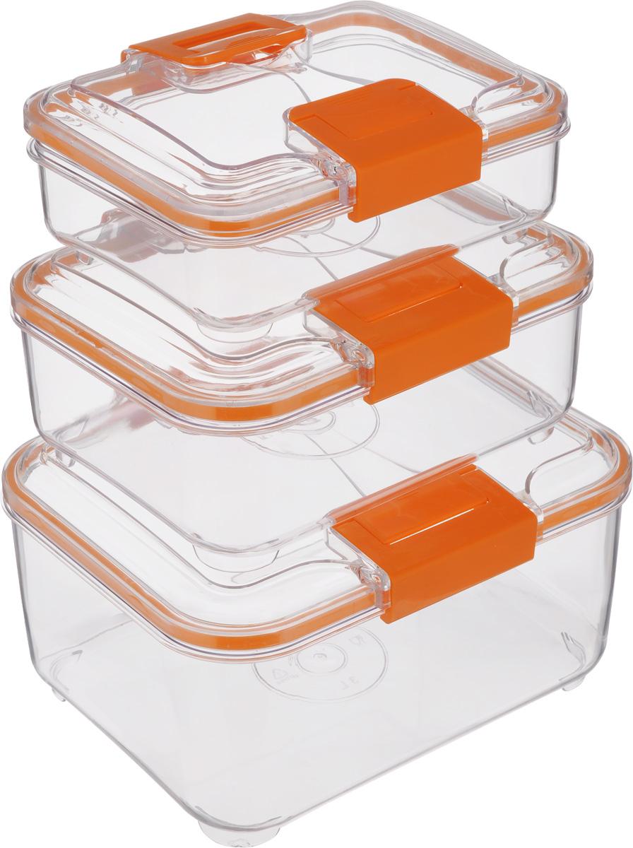 Набор контейнеров Status RC Set lower, цвет: оранжевый, прозрачный, 3 шт02-1Набор контейнеров Status RC Set lower изготовлен из высококачественного пищевого пластика. Контейнеры безопасны для здоровья, не содержат BPA. Изделия имеют прямоугольную форму и оснащены плотно закрывающимися крышками. Прозрачные стенки позволяют видеть содержимое. Контейнеры закрываются при помощи двух защелок.Можно мыть в посудомоечной машине.Контейнеры подходят для использования вморозильной камере и СВЧ.В наборе три контейнера объемом 0,75 л, 1,5 л и 3 л.Размер контейнера 3 л: 24 х 20 х 12,см.Размер контейнера 1,5 л: 21 х 17 х 10 см.Размер контейнера 0,75 л: 18,5 х 15 х 7,5 см.