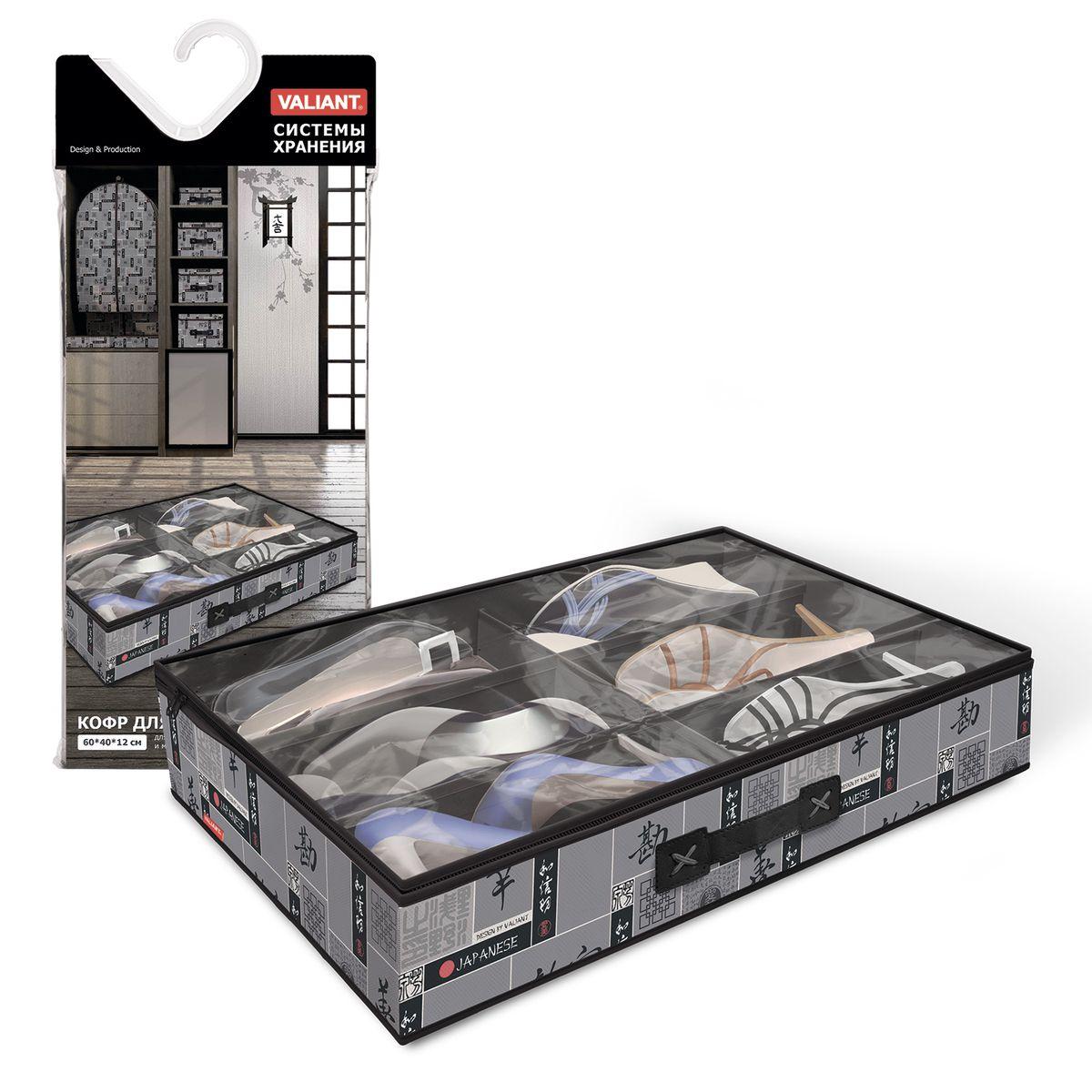 Кофр для хранения обуви Valiant Japanese Black, 6 секций, 60 х 40 х 12 смБрелок для ключейВместительный кофр Valiant Japanese Black изготовлен из высококачественного прочного нетканого материала и предназначен для долговременного хранения обуви. Кофр, закрывающийся крышкой на застежку-молнию, содержит 6 секций. Крышка из прозрачного ПВХ позволяет видеть содержимое. Для удобства в обращении имеется ручка. Кофр защитит вашу обувь от повреждений, пыли, влаги и загрязнений во время хранения и транспортировки. Он пропускает воздух и отталкивает воду. Изделие гармонично смотрится в любом интерьере, привнося в него изысканность и дизайнерскую изюминку. Кофр - это новый взгляд на систему хранения - теперь хранить вещи не только удобно, но и красиво. Размер кофра: 60 х 40 х 12 см. Количество секций: 6 шт.