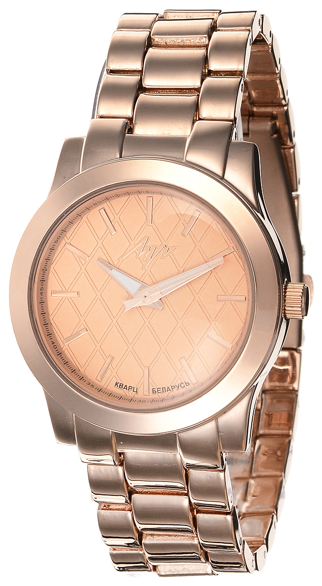Часы наручные женские Луч Современная, цвет: золотой. 729107271BM8434-58AEЭлегантные женские часы Луч Современная изготовлены из нержавеющей стали, металлического сплава и минерального стекла. Циферблат изделия дополнен символикой производителя.Корпус часов имеет степень влагозащиты равную 3 Bar, оснащен кварцевым механизмом Miyota, а также дополнен устойчивым к царапинам минеральным стеклом. На стрелки нанесен светящийся состав. Замок-клипса, дополняющий ремешок, позволит с легкостью снимать и надевать часы.Часы поставляются в фирменной упаковке.Часы Луч Современная подчеркнут изящность женской руки и отменное чувство стиля у их обладательницы.