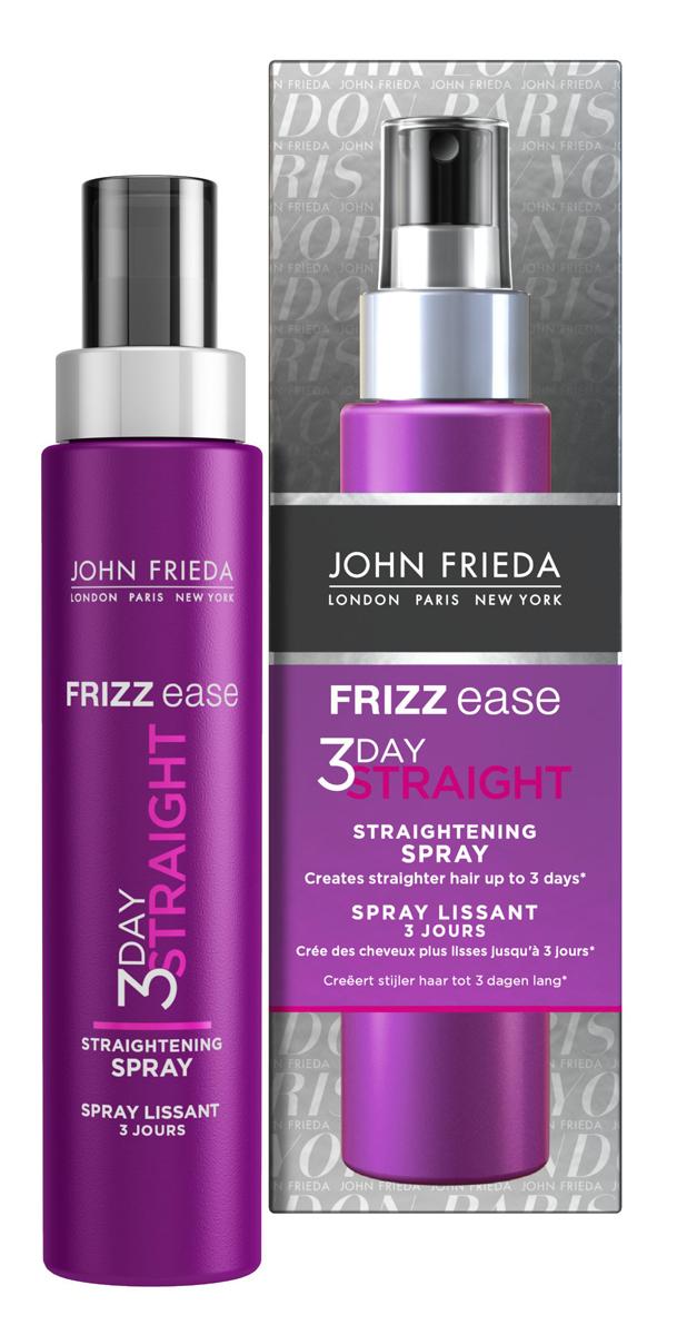 John Frieda Frizz-Ease 3 Day Straight Выпрямляющий моделирующий спрей для волос длительного действия, 100 млFS-00897Укладка на 48 часов с выпрямлением волос*. Во время укладки превращает непослушные и вьющиеся волосы в прямые гладкие пряди. Эффект выпрямления сохраняется до трех дней*. Теплоактивная формула выпрямляющего спрея 3 DAY STRAIGHT с кератином начинает действовать и защищать волосы от перегрева и повреждений, покрывает по всей длине каждую прядь, запечатывая ее для более продолжительного эффекта выпрямления без утяжеления волос.* или до следующего мятья головы, если вы моете ее чаще чем раз в 3 дня. Применение: Равномерно нанести спрей на МОКРЫЕ ИЛИ ВЛАЖНЫЕ волосы, не на сухие. Для начала достаточно 7-15 нажатий. Количество наносимого средства зависит от густоты, длины и от того насколько сильно они вьются. Используйте расческу, чтобы распределить спрей равномерно и затем высушить волосы феном. Завершите укладку при помощи стайлера для выпрямления волос (выпрямителя), последовательно выпрямляя прядь за прядью. Характеристики: Объем: 100 мл. Производитель: Великобритания.Товар сертифицирован. Уважаемые клиенты!Обращаем ваше внимание на незначительные изменения дизайна упаковки.