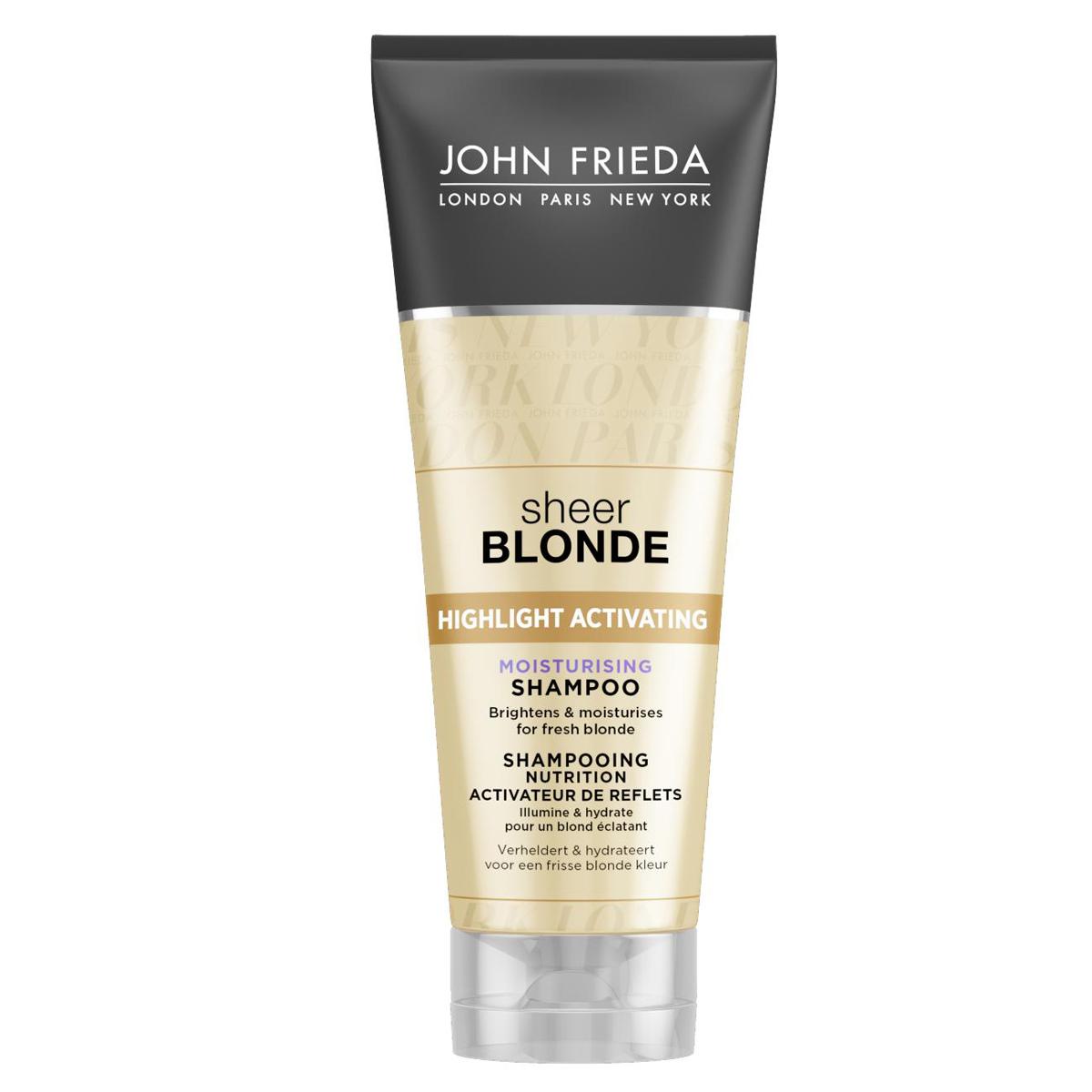 John Frieda Увлажняющий активирующий шампунь для оттенков светлый блондин, 250 млFS-00897Увлажняет и возвращает сияние светлым волосам. Увлажняет и придает сияние светлым волосам. Формула увлажняющего шампуня содержит экстракты подсолнечника и белого чая, усиливает сияние любого оттенка светлых волос. Применение: Нанесите на влажные волосы, вспеньте и тщательно смойте. Для наилучшего результата и увлажнения волос далее используйте увлажняющий активирующий шампунь для светлых волос Sheer Blonde.НЕ ОКРАШИВАЕТ ВОЛОСЫ *Безопасен для натуральных, окрашенных и мелированных волос. Характеристики:Объем: 250 мл. Производитель: Великобритания. Товар сертифицирован.