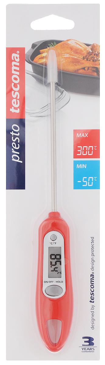 Термометр цифровой Tescoma Presto, цвет: красный54 009312Цифровой термометр Tescoma Presto изготовлен из высококачественной нержавеющей стали и пластика, снабжен ЖК-монитором и защитным покрытием для датчика. Прибор быстро и точно измеряет внутреннюю температуру пищи, напитков, соусов в градусах Цельсия °С и по Фаренгейту °F. Устойчив к пару и влаге.Не пригоден для мытья в посудомоечной машине.В комплект входят батарейки.