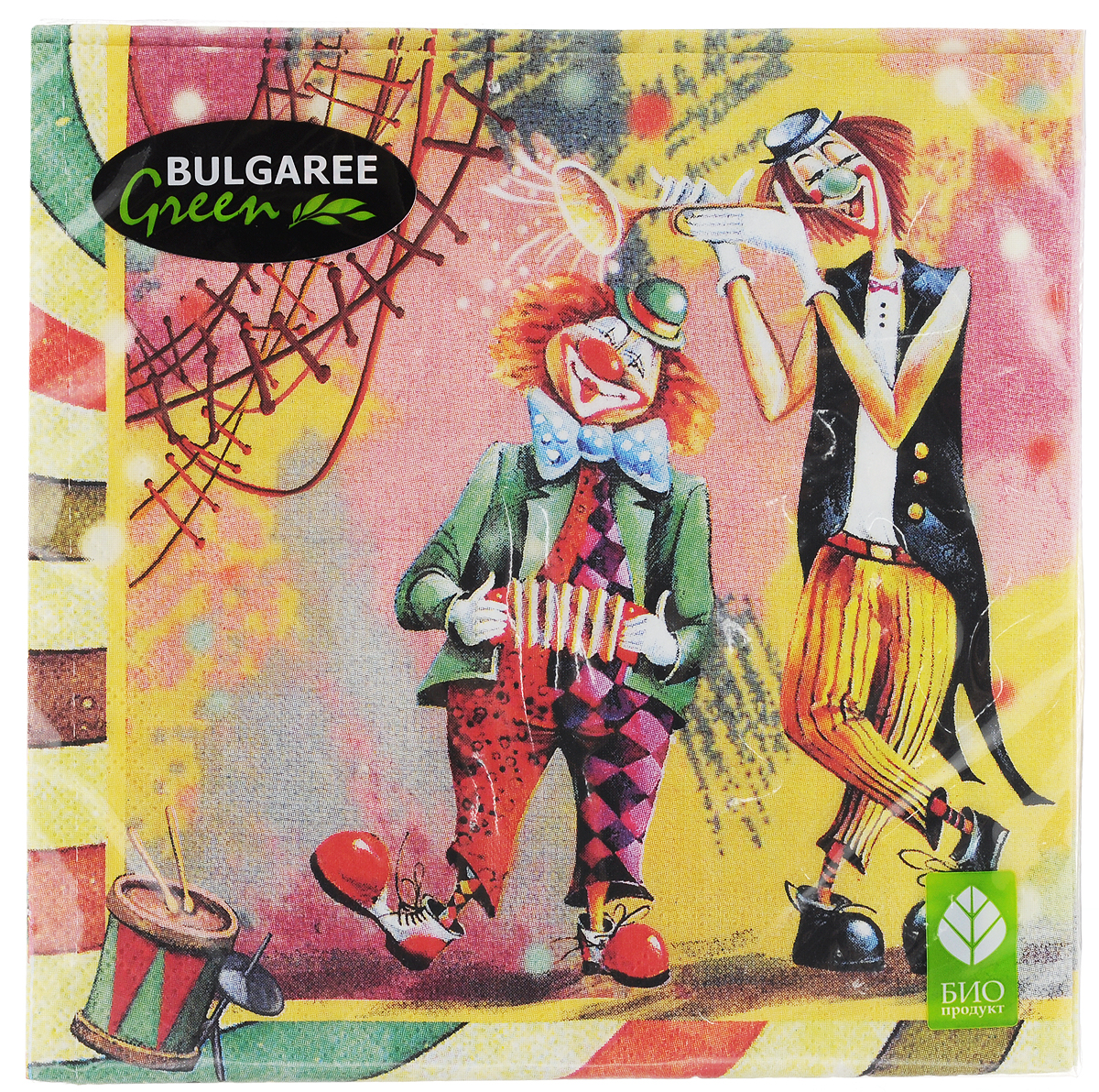 Салфетки бумажные Bulgaree Green Клоун, трехслойные, 33 х 33 см, 20 шт1004065Декоративные трехслойные салфетки Bulgaree Green Клоун выполнены из 100%целлюлозы европейского качества и оформлены ярким рисунком. Изделия станут отличным дополнением любого праздничного стола. Они отличаются необычной мягкостью, прочностью и оригинальностью.Размер салфеток в развернутом виде: 33 х 33 см.