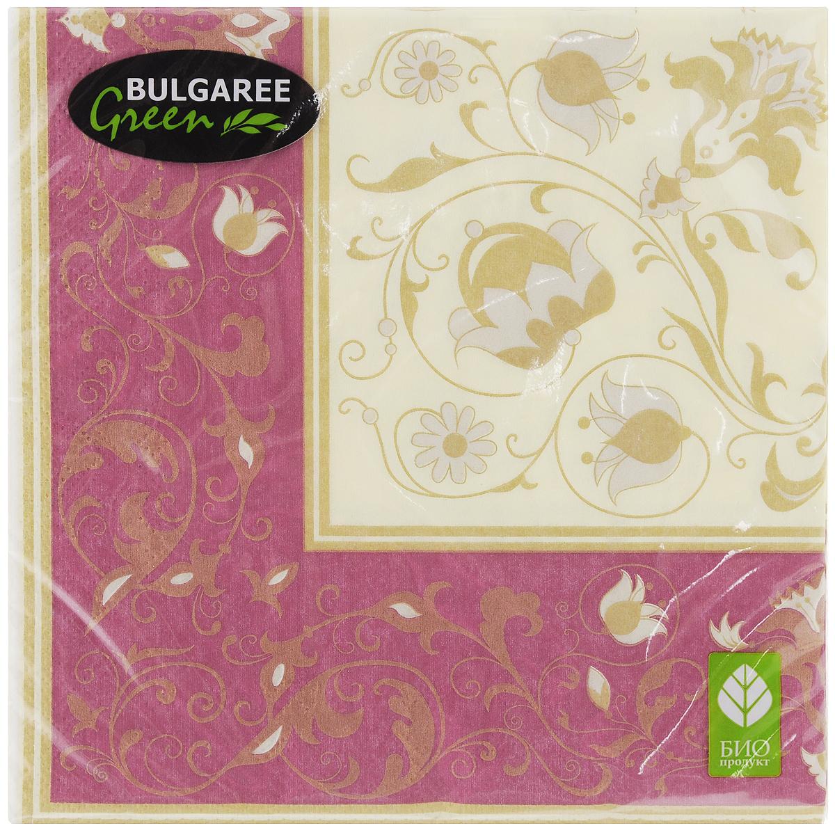 Салфетки бумажные Bulgaree Green Белиссимо, трехслойные, 33 х 33 см, 20 штCDF-16Трехслойные салфетки Bulgaree Green Белиссимо выполнены из 100%целлюлозы и оформлены красивым рисунком. Изделия станут отличным дополнением любого праздничного стола. Они отличаются необычной мягкостью, прочностью и оригинальностью.Размер салфеток в развернутом виде: 33 х 33 см.