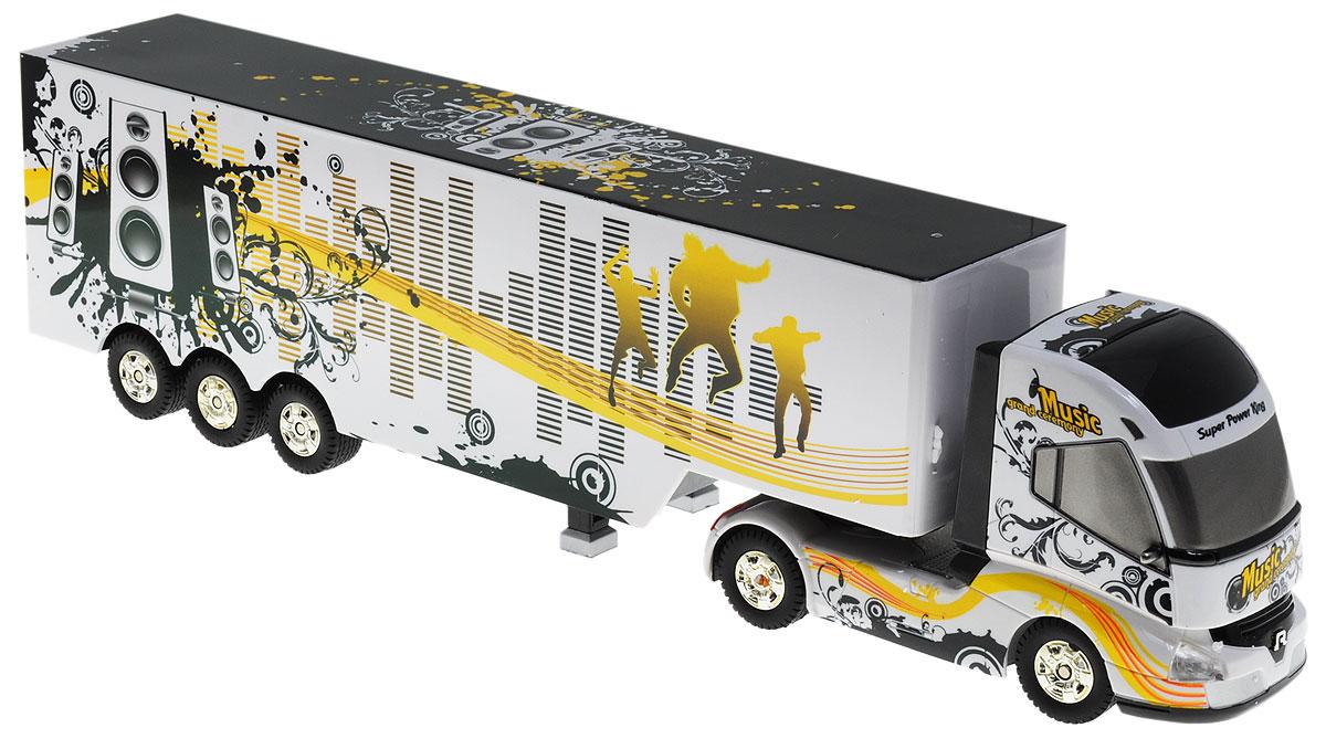 """Грузовик-тягач на радиоуправлении 1TOY """"Music Grand Ceremony"""" - очень интересная игрушка, изображающая реальную технику. При включении грузовика раздается звук заводящегося двигателя, движение и парковка также сопровождаются соответствующими звуками. Кузов прикрепляется к кабине на магнитных присосках, которые отсоединяются и присоединяются при помощи пульта управления. При движении грузовика загорается подсветка платформы. Машина двигается вперед и назад, поворачивает направо, налево. Радиоуправляемые игрушки способствуют развитию координации движений, моторики и ловкости. Машина работает от 4 батареек типа АА (не входят в комплект), пульт работает от батарейки 9V типа """"Крона"""" (входит в комплект)."""