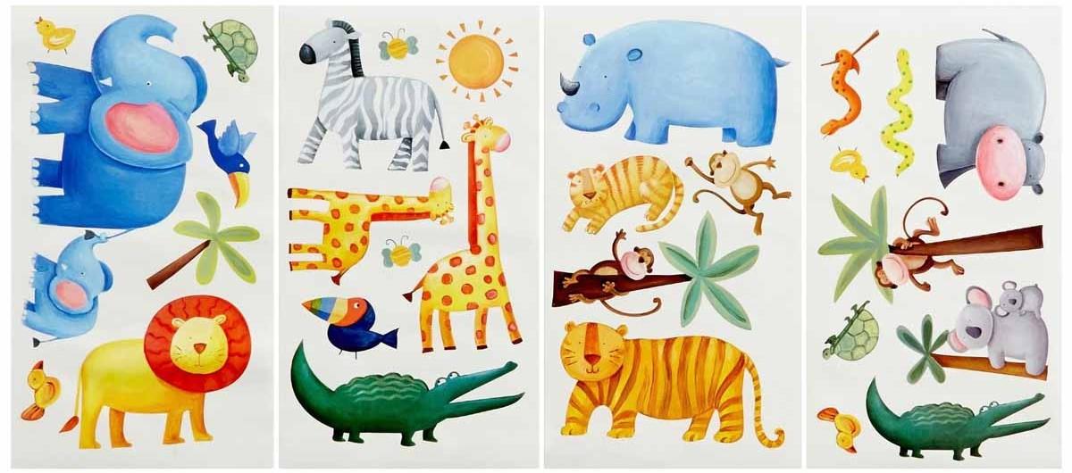 RoomMates Наклейка интерьерная Приключения в джунглях 29 штTHN132NИнтерьерные наклейки RoomMates Приключения в джунглях станут украшением вашей квартиры!Отправьтесь на поиски приключений со своими новыми друзьями! Новый увлекательный набор наклеек для декора содержит изображения жирафа, слона, зебры, льва, обезьяны и даже крокодила. Прекрасно подходит для детских, спален или даже классных комнат.Всего в наборе 29 стикеров. Наклейки не нужно вырезать - их следует просто отсоединить от защитного слоя и поместить на стену или любую другую плоскую гладкую поверхность.Наклейки многоразовые: их легко переклеивать и снимать со стены, они не оставляют липких следов на поверхности. Наклейки могут быть использованы много раз, при переклейке не портят и не пачкают поверхность. Очень просты в использовании, наклеить их сможет даже ребенок!