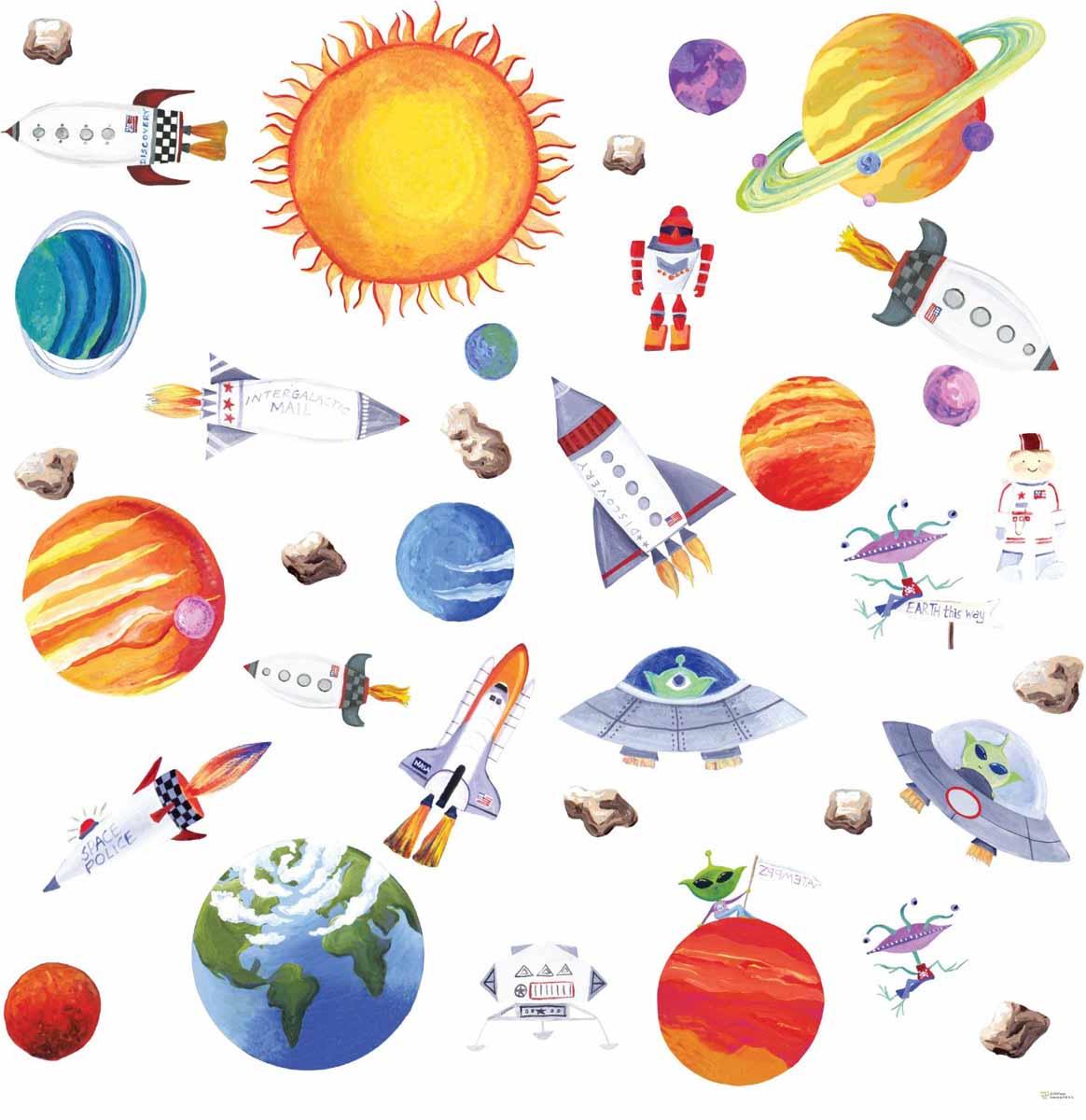 RoomMates Наклейки для декора Космос300148_бирюзовыйНаклейки для декора Космос от знаменитого производителя RoomMates станут украшением вашей квартиры! Превратите комнату вашего ребенка в полигон отважных исследователей космоса с помощью нового набора наклеек для декора! Наклейки, входящие в набор, содержат изображения всех планет Солнечной системы, самого солнца, а также космических ракет и даже корабля пришельцев! Наклейки не нужно вырезать - их следует просто отсоединить от защитного слоя и поместить на стену или любую другую плоскую гладкую поверхность. Наклейки многоразовые: их легко переклеивать и снимать со стены, они не оставляют липких следов на поверхности. В каждой индивидуальной упаковке вы можете найти 4 листа с различными наклейками! Таким образом, покупая наклейки фирмы RoomMates, вы получаете гораздо больший ассортимент наклеек, имея возможность украсить ими различные поверхности в доме.