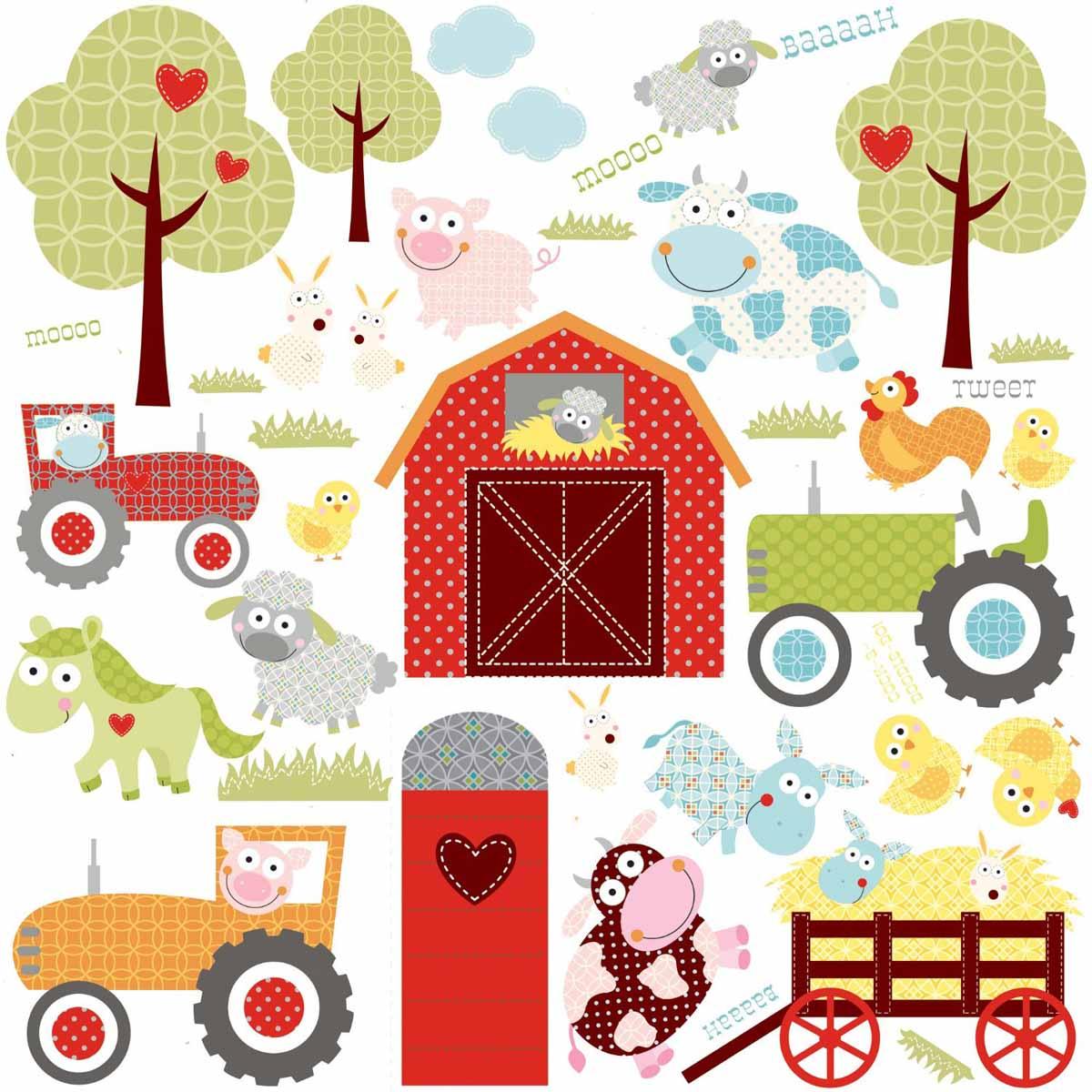 RoomMates Наклейки для декора Веселая ферма17348Наклейки для декора Счастливая ферма от знаменитого производителя RoomMates станут украшением вашей квартиры! Придайте веселый и забавный вид комнате вашего ребенка с новым увлекательным набором наклеек для декора! Листы наклеек, входящие в набор, содержат изображения ярко-красного сарая, пышных деревьев и любимых фермерских животных, таких, например, как коровы, свиньи, курицы, овцы и так далее. Забавные паттерны и модные цвета делают набор идеально подходящим для детской или игровой комнаты. Всего в наборе 42 стикера. Наклейки не нужно вырезать - их следует просто отсоединить от защитного слоя и поместить на стену или любую другую плоскую гладкую поверхность. Наклейки многоразовые: их легко переклеивать и снимать со стены, они не оставляют липких следов на поверхности. В каждой индивидуальной упаковке вы можете найти 4 листа с различными наклейками! Таким образом, покупая наклейки фирмы RoomMates, вы получаете гораздо больший ассортимент наклеек, имея возможность украсить ими различные поверхности в доме.