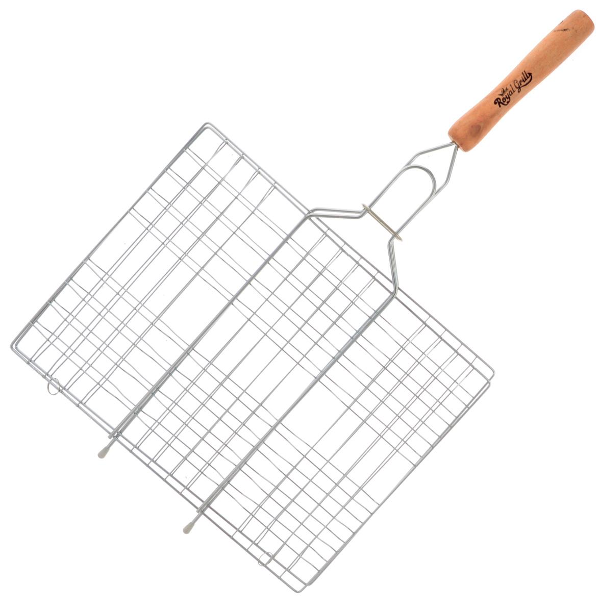 Решетка-гриль RoyalGrill, 31 х 24 см80-018Универсальная решетка-гриль RoyalGrill изготовлена из высококачественной стали. На решетке удобно размещать стейки, ребрышки, гамбургеры, сосиски, рыбу, овощи.Решетка предназначена для приготовления пищи на углях. Блюда получаются сочными, ароматными, с аппетитной специфической корочкой. Рукоятка изделия оснащена деревянной вставкой и фиксирующей скобой, которая зажимает створки решетки. Размер рабочей поверхности решетки (без учета усиков): 31 х 24 см.Общая длина решетки (с ручкой): 54 см.