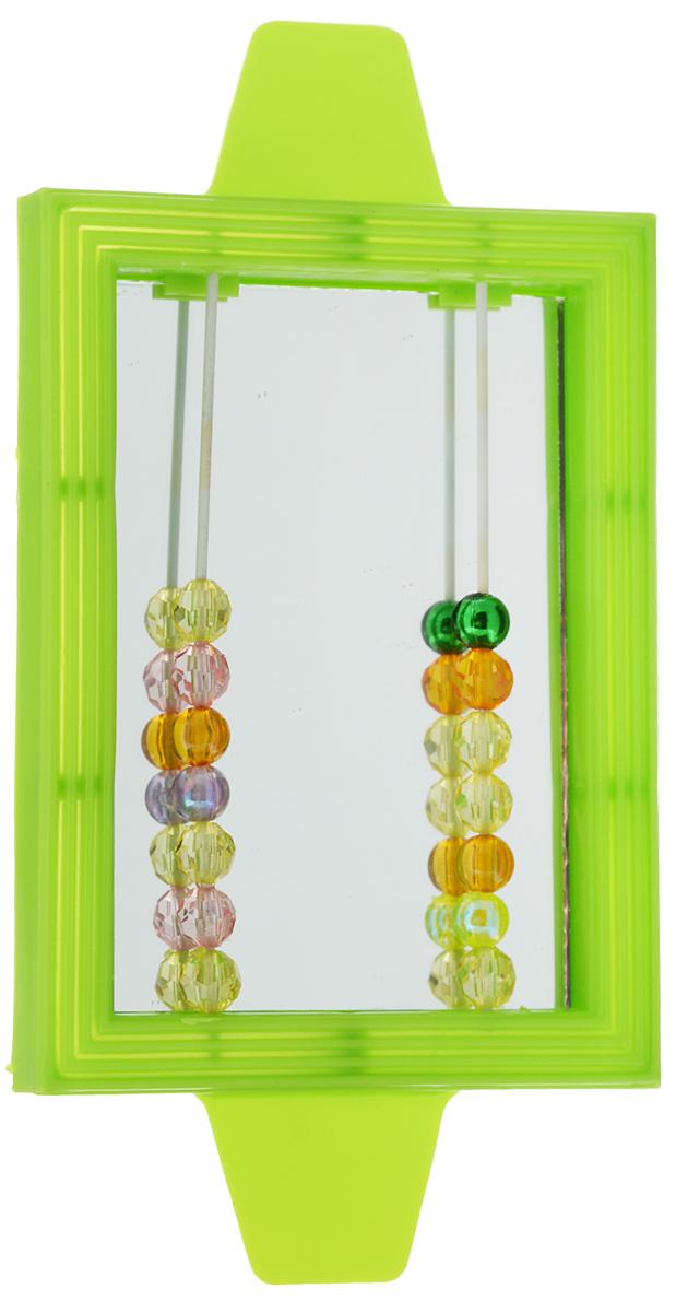 Игрушка для птиц Triol Зеркало с бусинками, цвет: зеленый40.ZV.138Игрушка Triol Зеркало с бусинками, изготовленная из пластика, предназначена для птиц. Зеркало в яркой оправе оснащено двумя металлическими прутиками с подвижными разноцветными бусинами. Такая игрушка не даст скучать вашему питомцу.