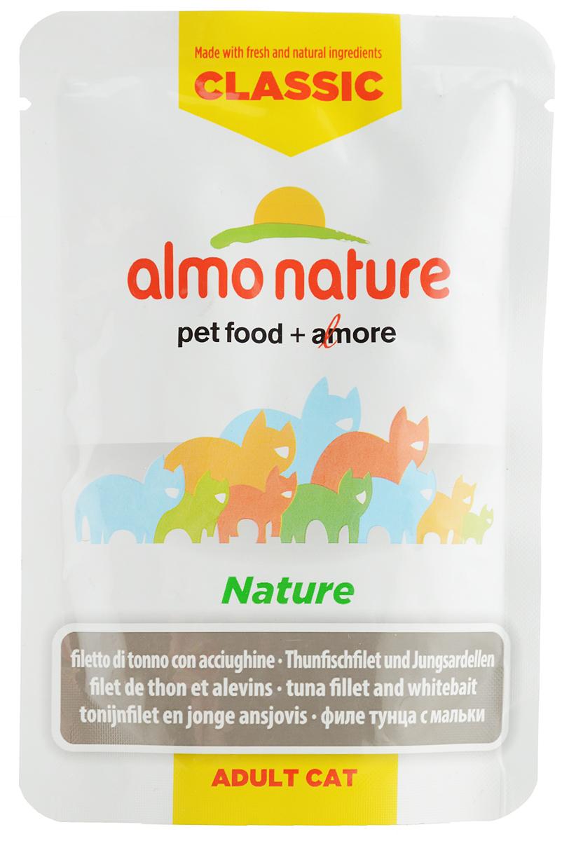 Консервы для кошек Almo Nature Classic. Nature, филе тунца с мальками, 55 г0120710Консервы Almo Nature Classic. Nature - это прекрасный сбалансированный корм для кошек. Угощение бережно приготовлено из самых свежих ингредиентов. Корм обогащен витаминами и минералами для здоровья, а также для хорошего самочувствия. Ваш питомец будет в полном восторге!Не содержит сои, консервантов, ароматизаторов, искусственных красителей, усилителей вкуса.Состав: филе тунца 50%, бульон из тунца 44%, мальки 5%, рис 1%. Пищевая ценность: белок 11%, клетчатка 0,1%, масла и жиры 0,4%, зола 2%, влажность 86,5%. Энергетическая ценность: 419 ккал/кг.Товар сертифицирован.