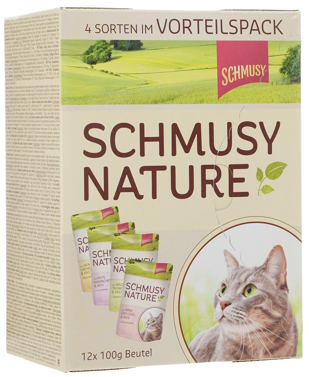 Консервы для кошек Schmusy Nature, 4 вида, 12 х 100 г139770Консервы для кошек Schmusy Nature - это полноценная еда с множеством натуральных ингредиентов для кошек и котов. Корм богат содержанием отборного мяса, потому что кошки - это настоящие хищники, они нуждаются в пище, богатой белками. В этих пакетиках маленькие кусочки мяса залиты деликатным соусом. Кроме отборного мяса в состав входят пивные дрожжи, которые укрепляют иммунную систему кошек. Корм содержит витамины и натуральные добавки, также добавлен таурин для правильного развития организма кошек. Взрослой кошке (4 кг) требуется около 3 пакетиков в день. Консервы включают 4 вида вкусов: курица и лосось с пастой и пивными дрожжами; говядина и домашняя птица с рисом и гранатом; индейка и кролик с рисом и льняным семенем; дичь, тунец, макароны и яблочный жом. Композиция: белок 9%, жир 5%, клетчатка 0,5%, зола 2%, влажность 81%. Добавки на кг: витамин D3 200 ME, витамин Е 20 мг, таурин 500 мг, медь 1,5 мг, марганец 1,5 мг, цинк 5 мг, йод 0,5 мг. Состав (курица и лосось с пастой и пивными дрожжами): мясо и мясные субпродукты (в том числе курицы 10%), рыба и рыбные субпродукты (5% лосося), хлебобулочные изделия (3% пасты), минеральные вещества, дрожжи (0,1% пивных дрожжей). Состав (говядина и домашняя птица с рисом и гранатом): мясо и мясные субпродукты (в том числе 10% домашней птицы, 5% говядины), злаки (3% риса), субпродукты растительного происхождения (0,1% муки из семян граната), минеральные вещества. Состав (индейка и кролик с рисом и льняным семенем): мясо и мясные субпродукты (в том числе 10% индейки, 5% кролика), злаки (3% риса), минеральные вещества, субпродукты растительного происхождения (0,2% льняное семя). Состав (дичь, тунец, макароны и яблочный жом): мясо и мясные субпродукты (в том числе 5% дичь), рыба и рыбные субпродукты (5% тунец), хлебобулочные изделия (3% макаронные), субпродукты растительного происхождения (0,1% яблочный жом). Вес одного пауча: 100 г. Количество паучей: 12 шт. Товар сертифиц
