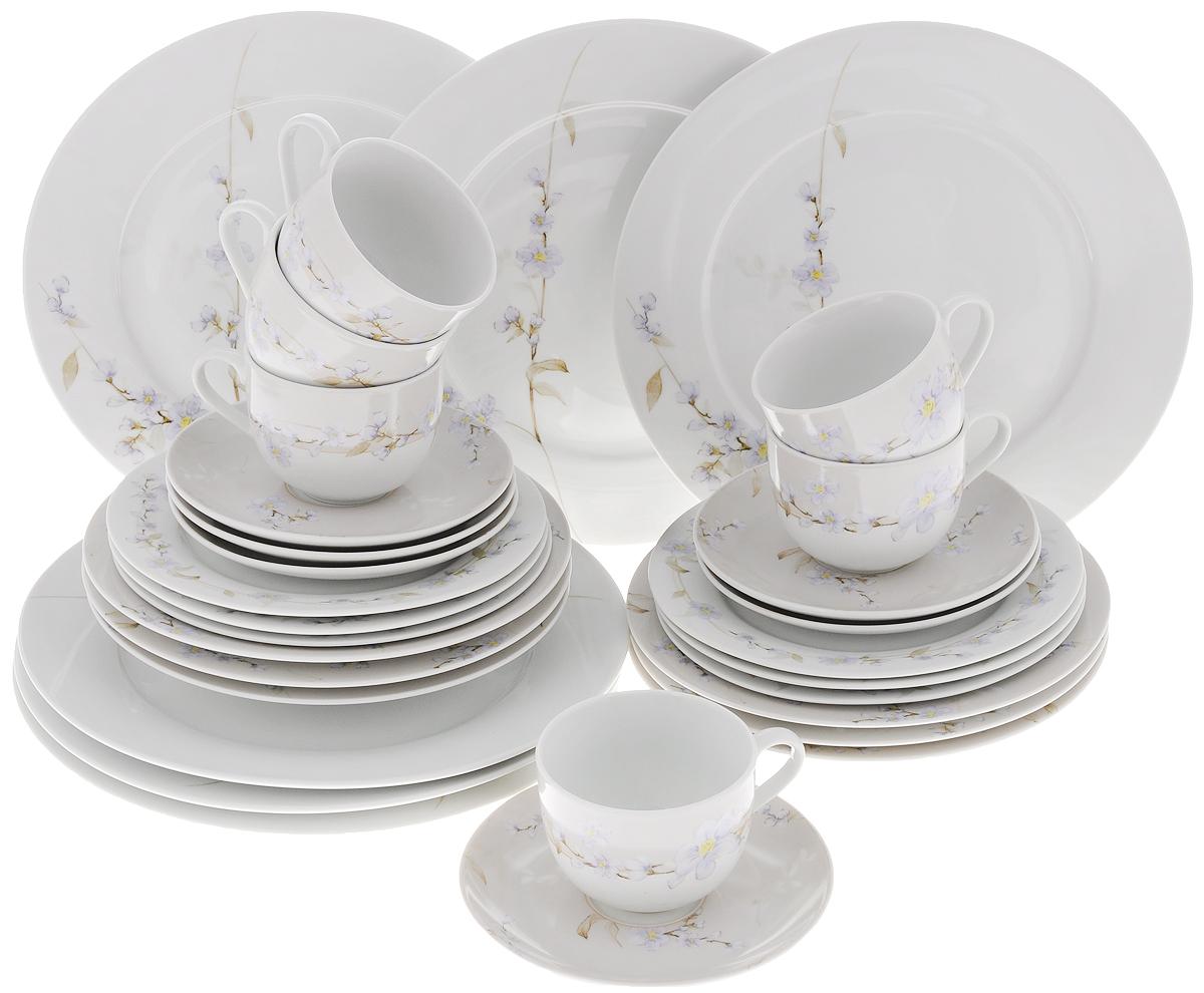 Набор столовой посуды Bekker Koch, 30 предметов. BK-7284115510Набор Bekker Koch состоит из 6 обеденных тарелок, 6 суповых тарелок, 6 десертных тарелок, 6 блюдец и 6 чашек. Изделия выполнены из высококачественного фарфора и имеют круглую форму. Посуда отличается прочностью, гигиеничностью и долгим сроком службы, она устойчива к появлению царапин и резким перепадам температур. Такой набор прекрасно подойдет как для повседневного использования, так и для праздников. Набор столовой посуды Bekker Koch - это не только яркий и полезный подарок для родных и близких, а также великолепное дизайнерское решение для вашей кухни или столовой. Можно мыть в посудомоечной машине. Диаметр суповой тарелки (по верхнему краю): 21,7 см. Высота суповой тарелки: 3,5 см.Диаметр обеденной тарелки (по верхнему краю): 27,1 см. Высота обеденной тарелки: 2,3 см. Диаметр десертной тарелки (по верхнему краю): 19,2 см. Высота десертной тарелки: 1,7 см. Диаметр блюдца (по верхнему краю): 15,4 см. Высота блюдца: 2 см. Диаметр чашки (по верхнему краю): 8,5 см. Высота чашки: 6,5 см. Объем чашки: 220 мл.