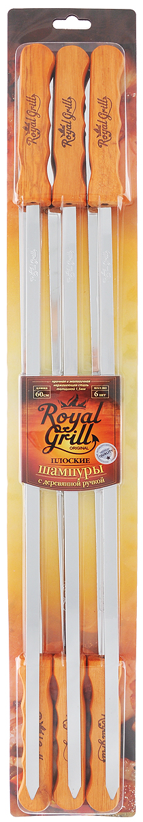 Набор плоских шампуров RoyalGrill, длина 60 см, 6 штSF 0085Набор RoyalGrill состоит из 6 плоских шампуров, предназначенных для приготовления шашлыка. Изделия выполнены из высококачественной нержавеющей стали. Функциональный и качественный набор шампуров поможет вам в приготовлении вкусного шашлыка на открытом воздухе. Ширина шампура: 1,1 см. Толщина: 1,5 мм.