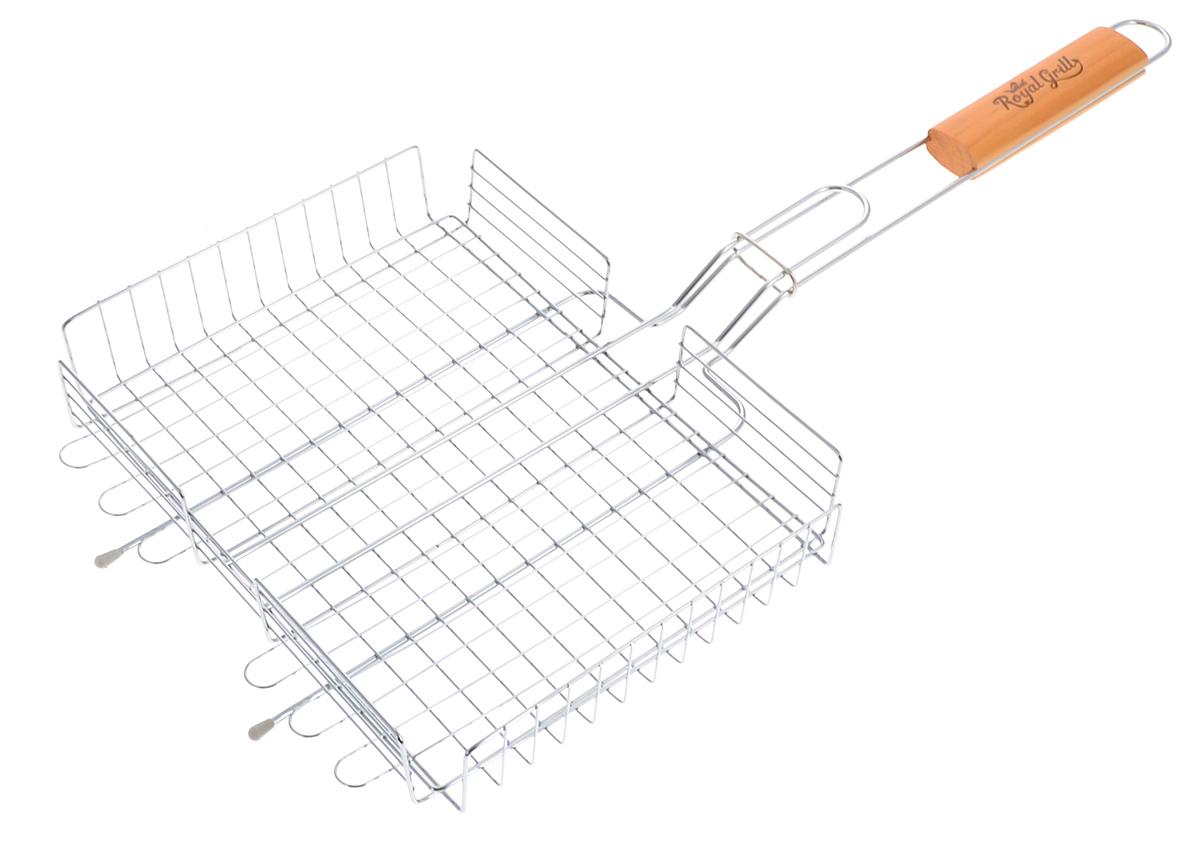 Решетка-гриль RoyalGrill, глубокая, 28 х 22 см74-0080Глубокая решетка-гриль RoyalGrill изготовлена из высококачественной стали. На решетке удобно размещать стейки, ребрышки, гамбургеры, сосиски, рыбу, овощи.Решетка предназначена для приготовления пищи на углях. Блюда получаются сочными, ароматными, с аппетитной специфической корочкой. Рукоятка изделия оснащена деревянной вставкой и фиксирующей скобой, которая зажимает створки решетки. Размер рабочей поверхности решетки (без учета усиков): 28 х 22 см.Общая длина решетки (с ручкой): 58,5 см.