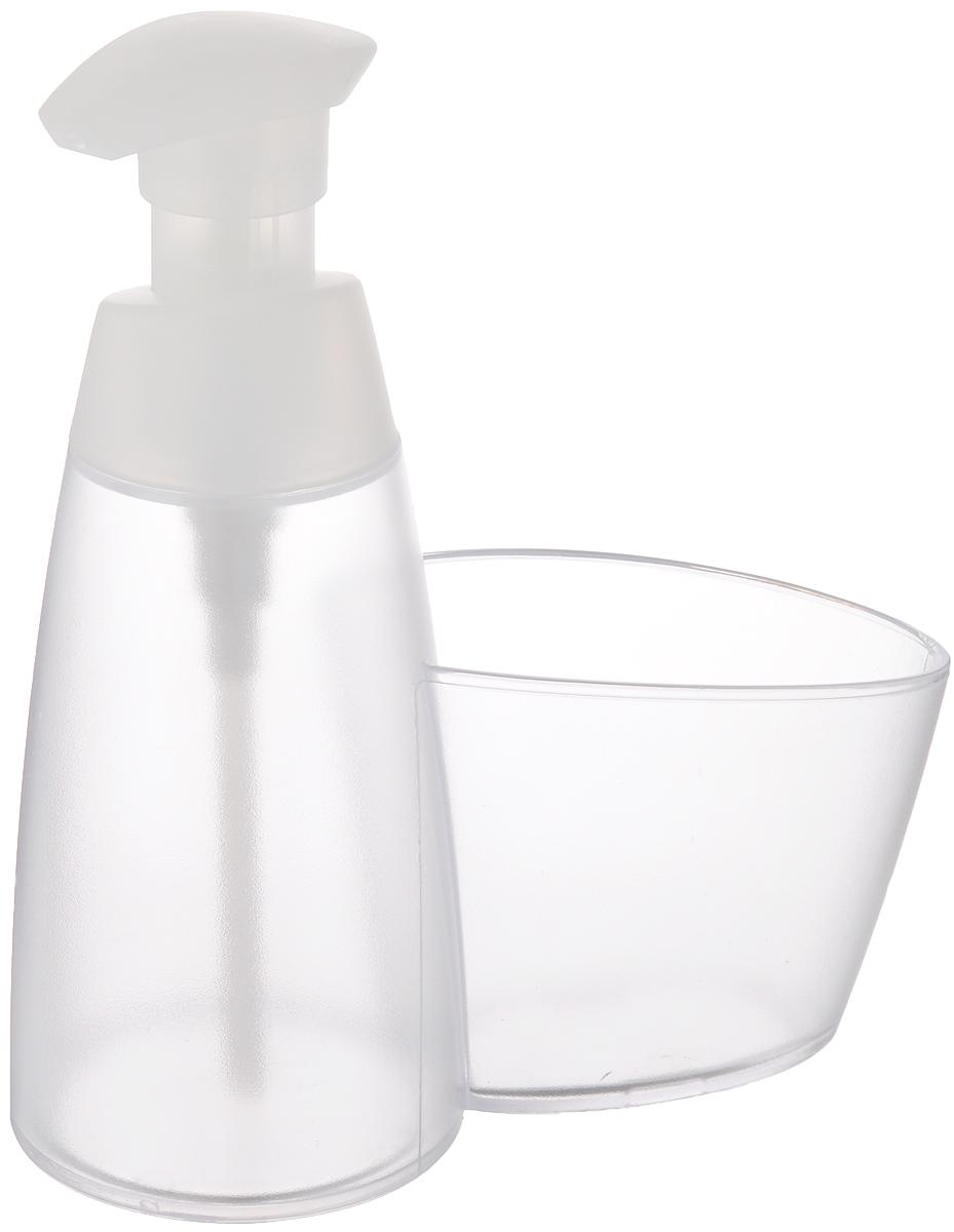 Дозатор для моющего средства Tescoma Clean Kit, с подставкой для губки, цвет: прозрачный, белый, 350 млES-412Дозатор Tescoma Clean Kit, выполненный из прочного пластика, прекрасно подходит для удобной дозировки и хранения моющих средств на кухонном гарнитуре, рядом с мойкой. Имеется подставка под губку.Можно мыть в посудомоечной машине.Высота дозатора (с учетом крышки): 18 см.Диаметр основания дозатора: 7,5 см.Размер подставки для губки: 10 х 6,5 х 8 см.
