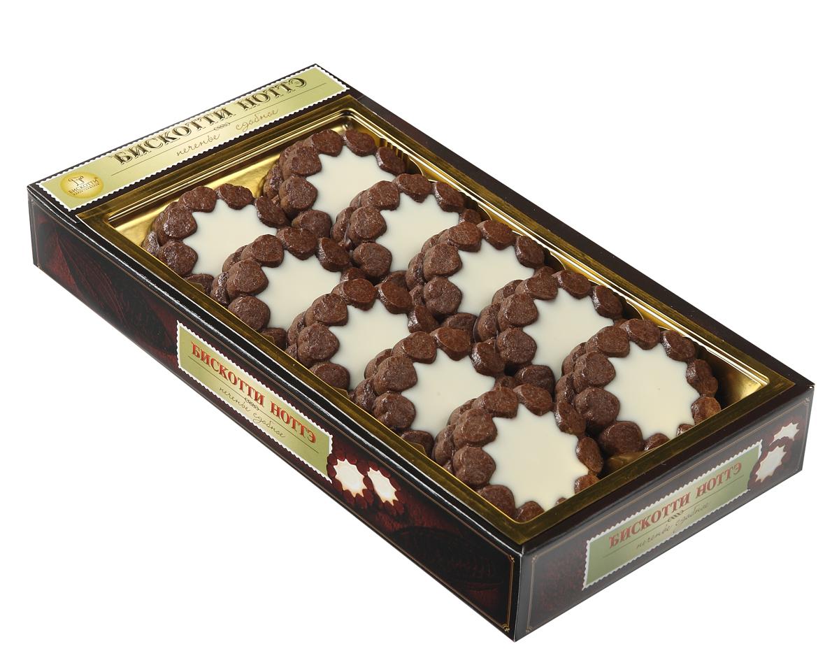 Бискотти Ноттэ печенье сдобное, 270 г528Notte - в переводе с итальянского языка обозначает ночь. Бискотти Ноттэ - это печенье с большим содержанием какао-порошка и сухого молока, изготовленное по оригинальной итальянской рецептуре. Нежнейший белый крем начинки гармонично сочетается с темным шоколадным тестом печенья и усиливается вкусом шоколадной глазури.
